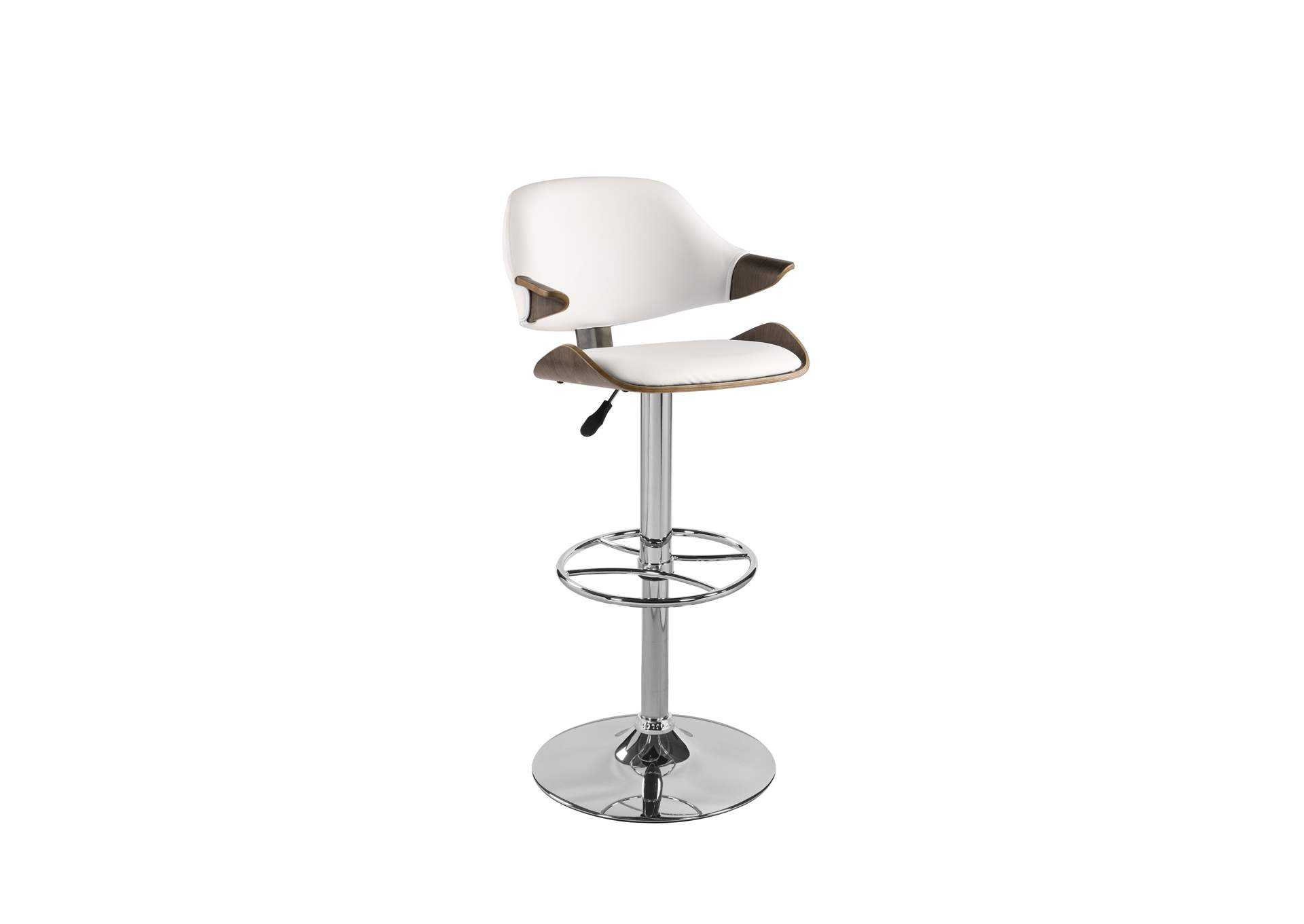 Chrome & Oak Curved Back Adjustable Height Stool,Chintaly Imports