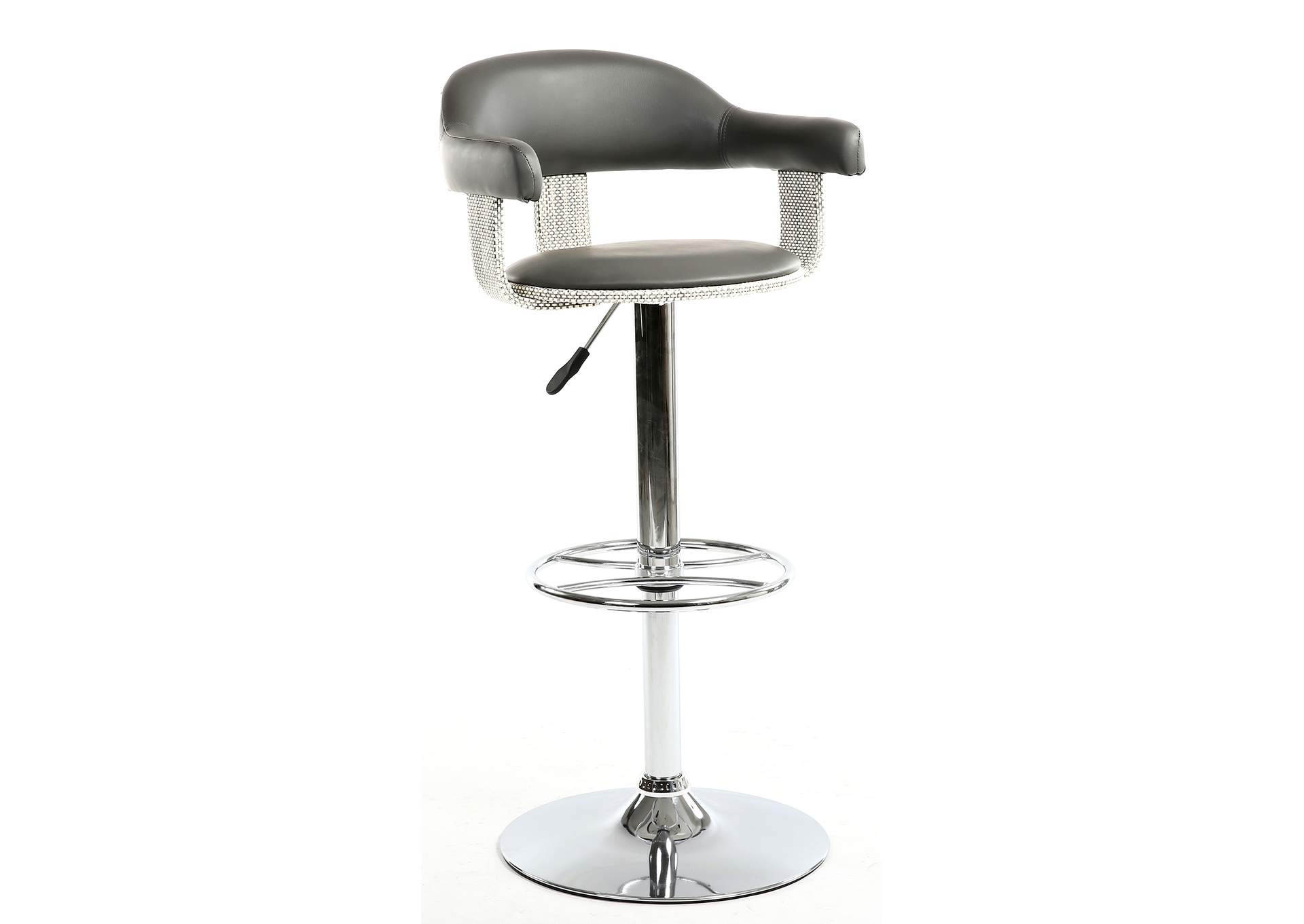 Grey Wooden Back & Seat Pneumatic Stool,Chintaly Imports