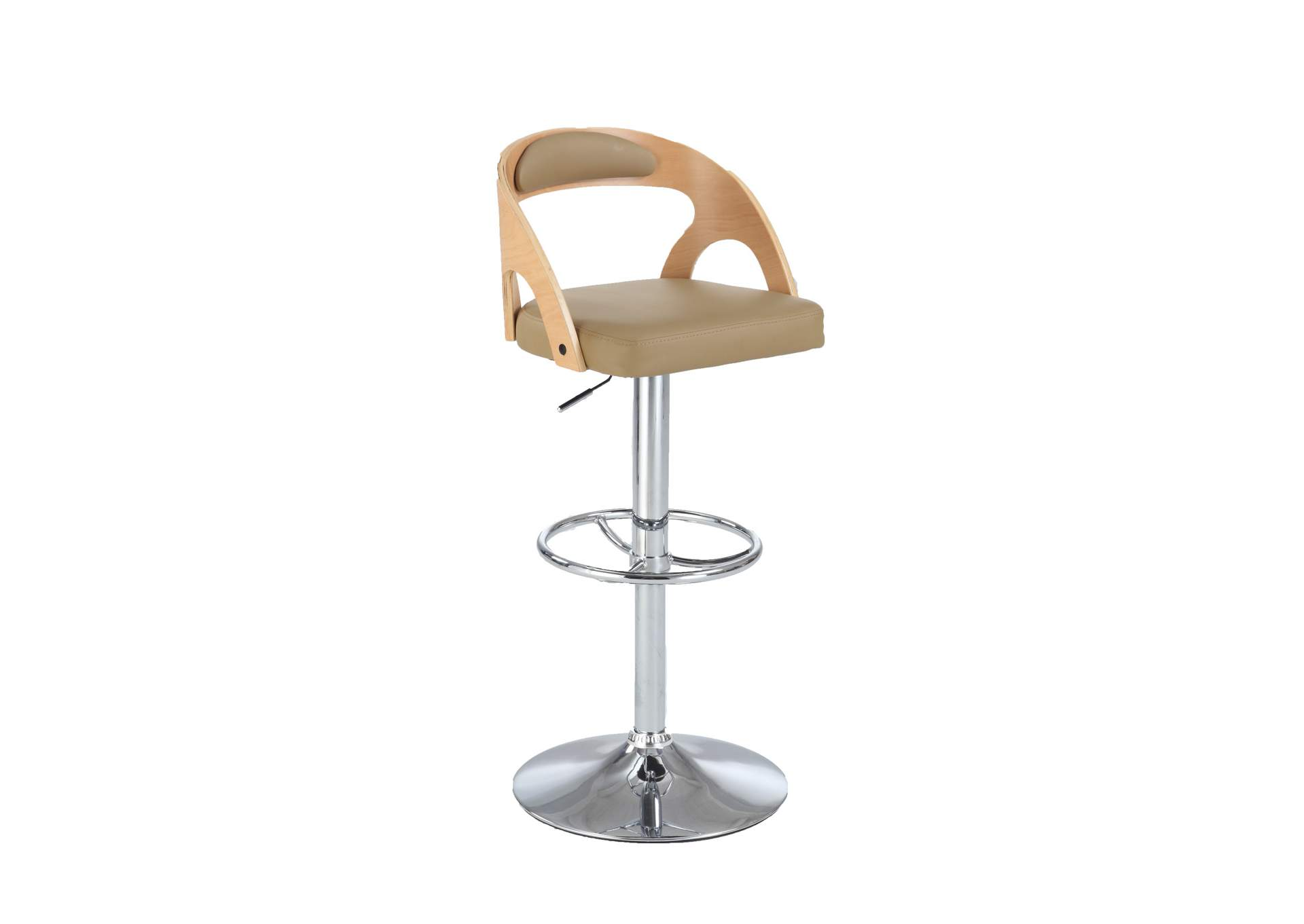 Beige Round Open-Back Pneumatic Stool,Chintaly Imports