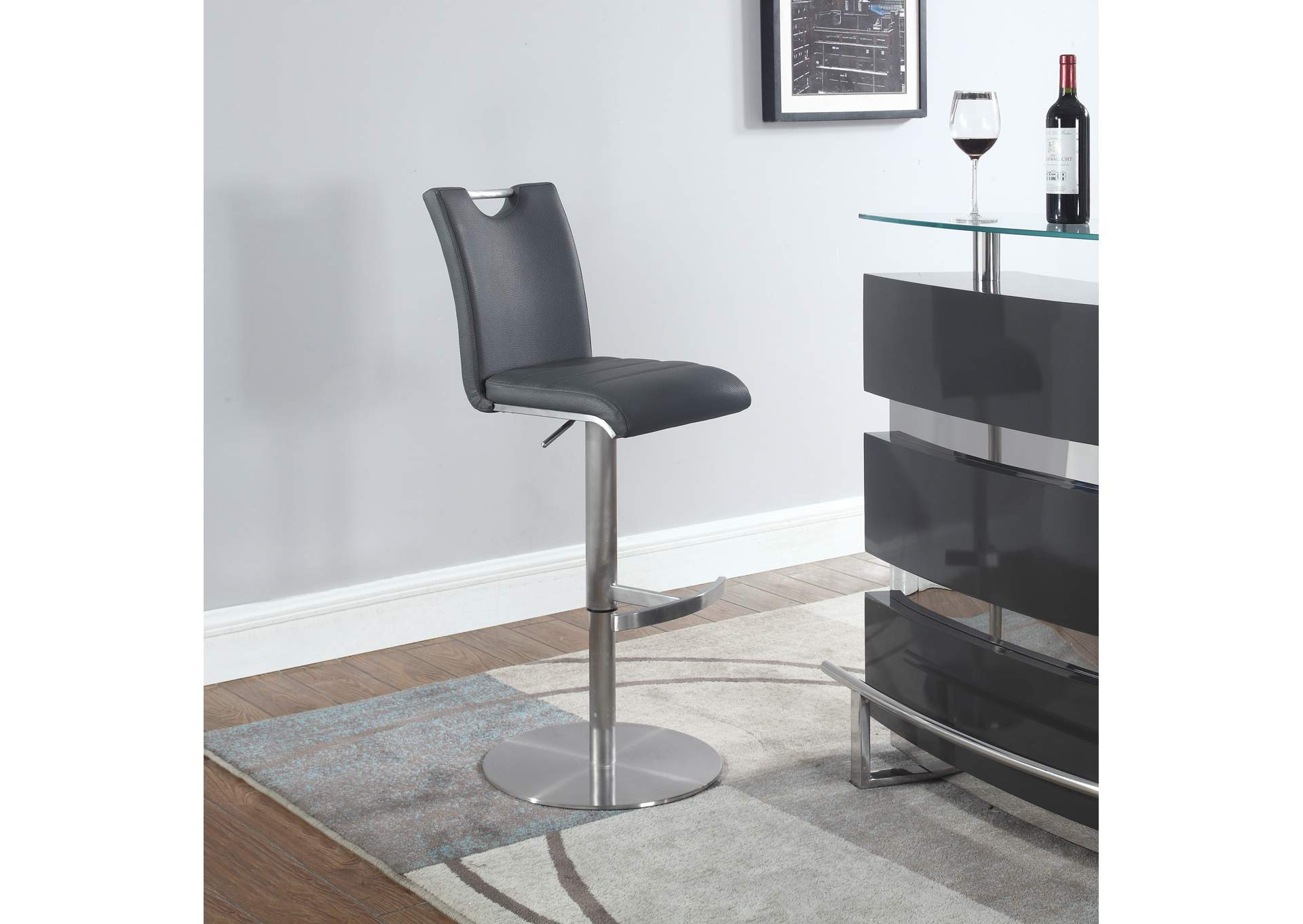 Grey Handle Back Adjustable Stool,Chintaly Imports