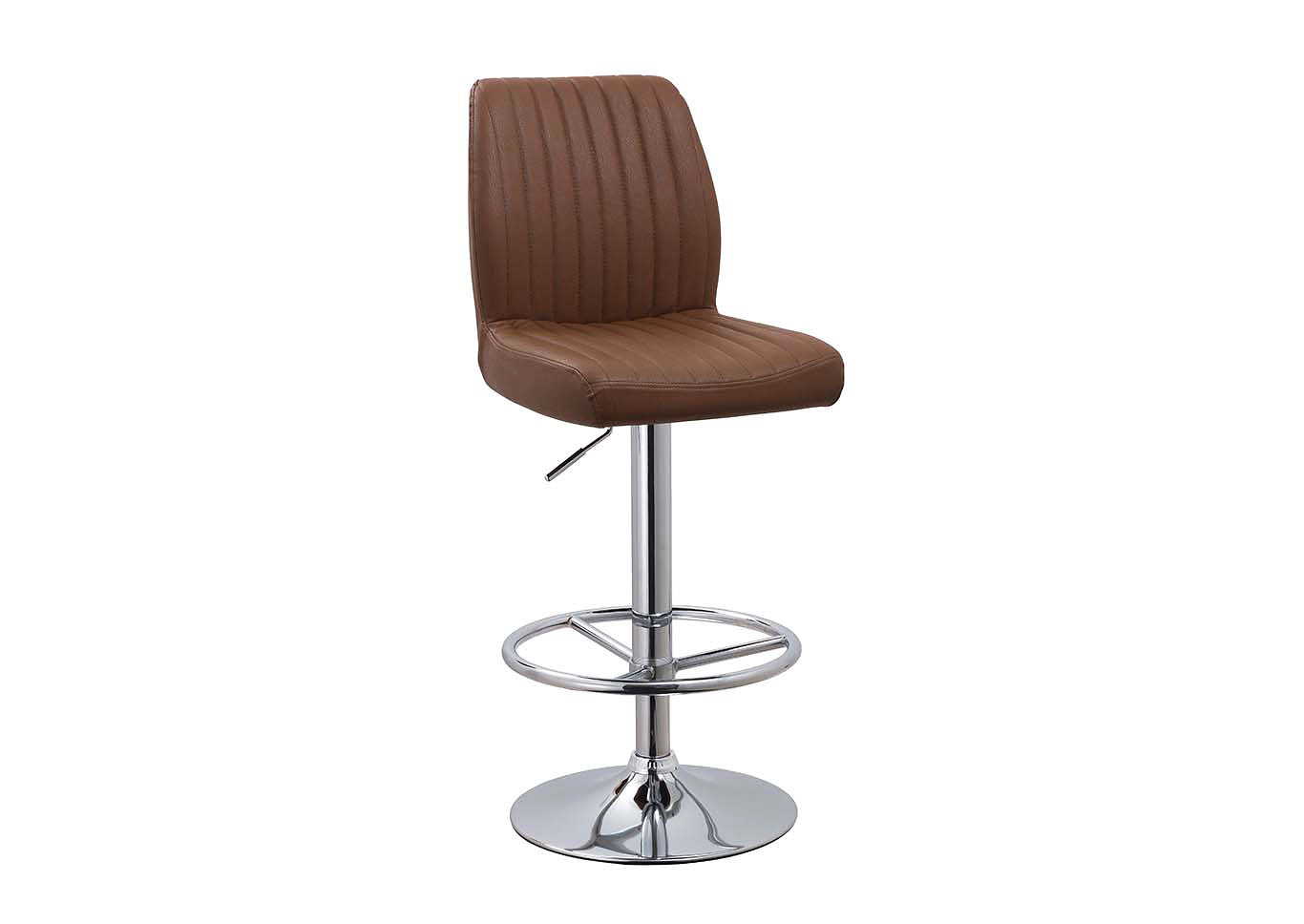 Brown Quilted Adjustable Height Swivel Stool,Chintaly Imports