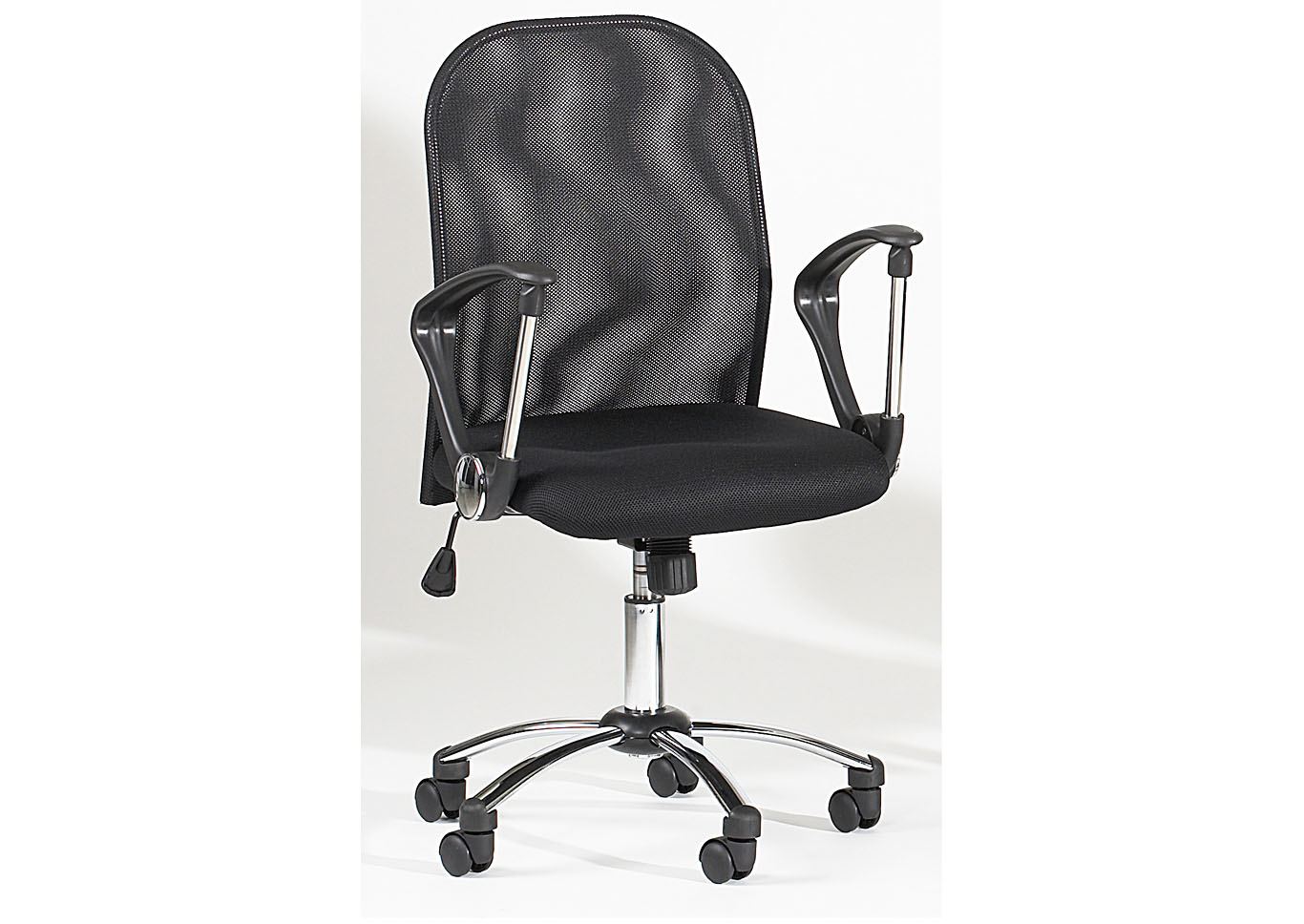 Chrome Height-Adjustable Swivel Computer Chair W/ Mesh Back,Chintaly Imports
