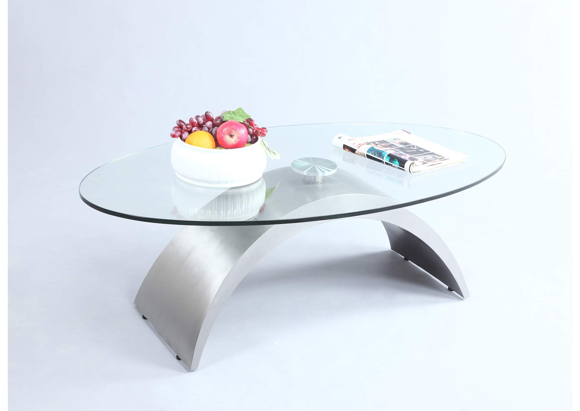 Contemporary Oval Glass Top Cocktail Table,Chintaly Imports