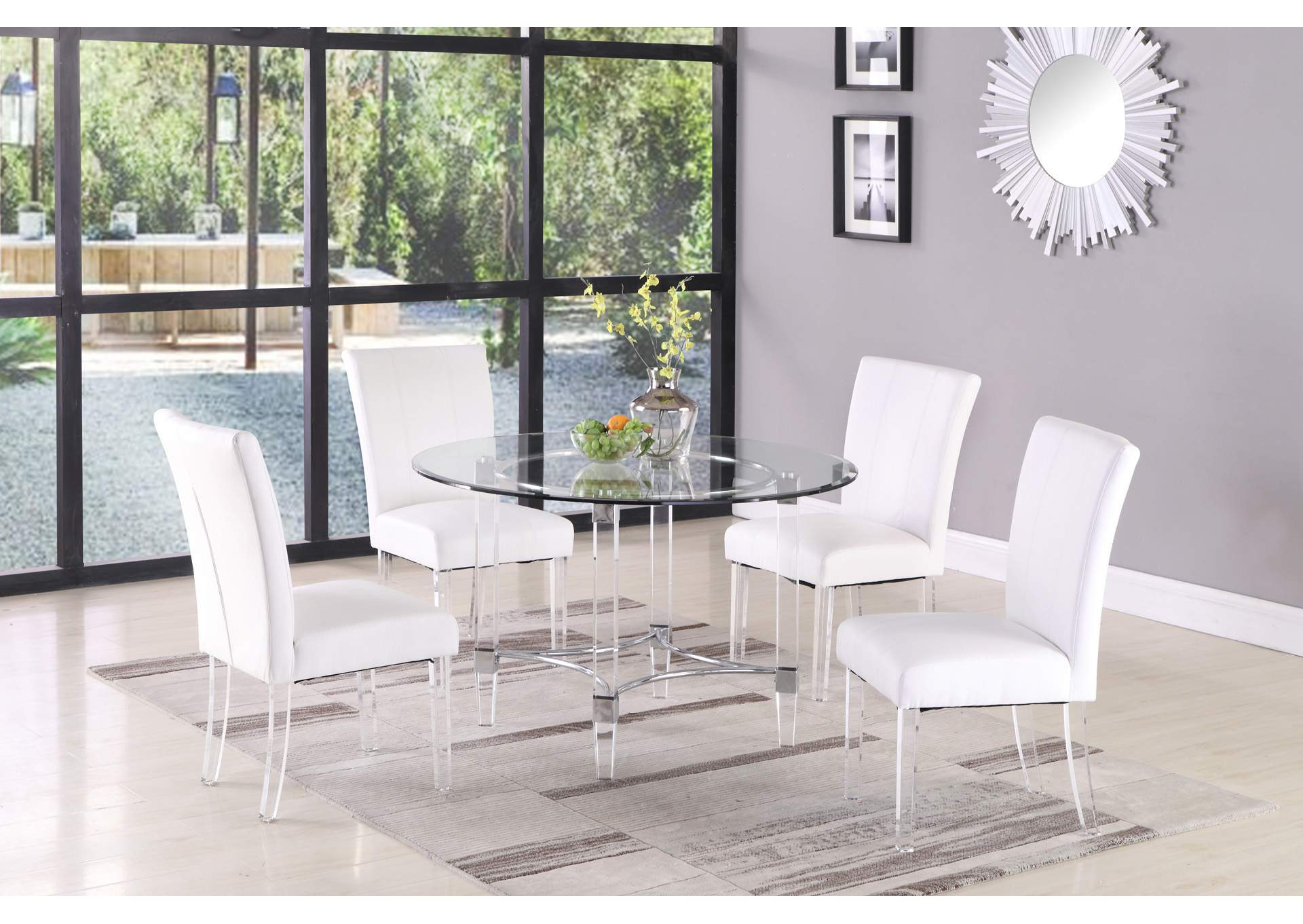 Clear Round Glass Top Dining Table,Chintaly Imports