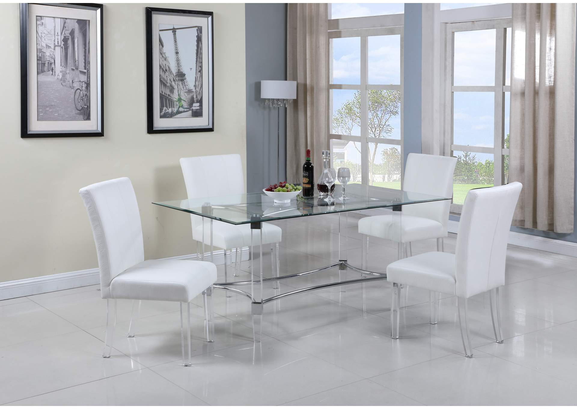 Contemporary Dining Set w/ Rectangular Glass Dining Table & Parson ...