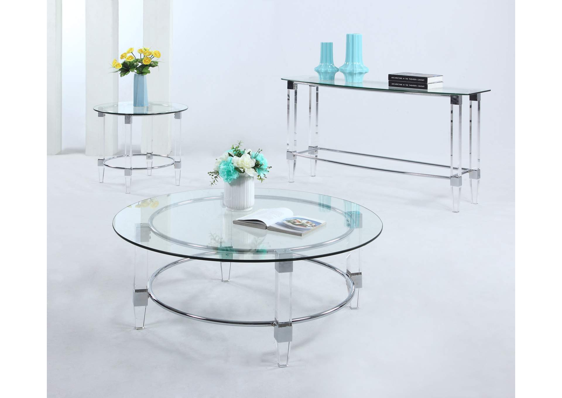 Contemporary Round Glass Top Lamp Table,Chintaly Imports