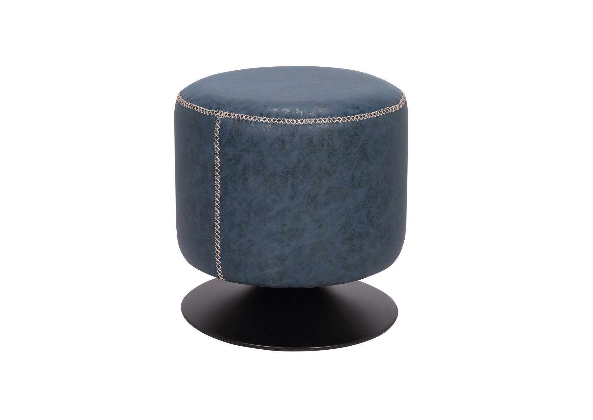 Black Round Vintage Upholstered Ottoman,Chintaly Imports