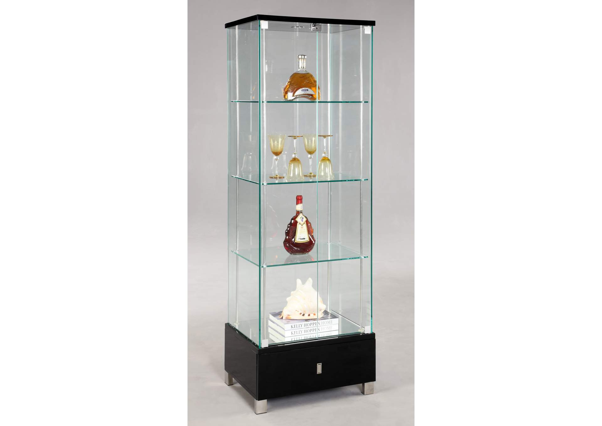 Black Glass Curio,Chintaly Imports