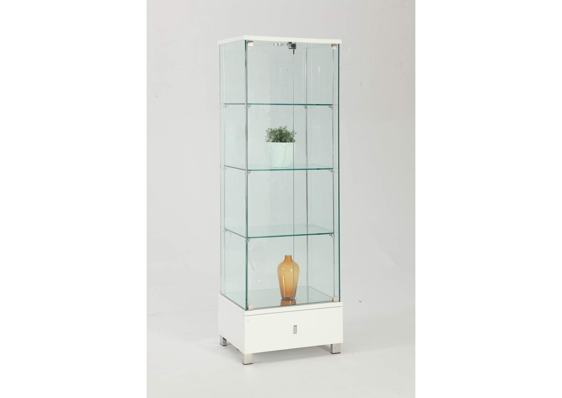 White Glass Curio,Chintaly Imports