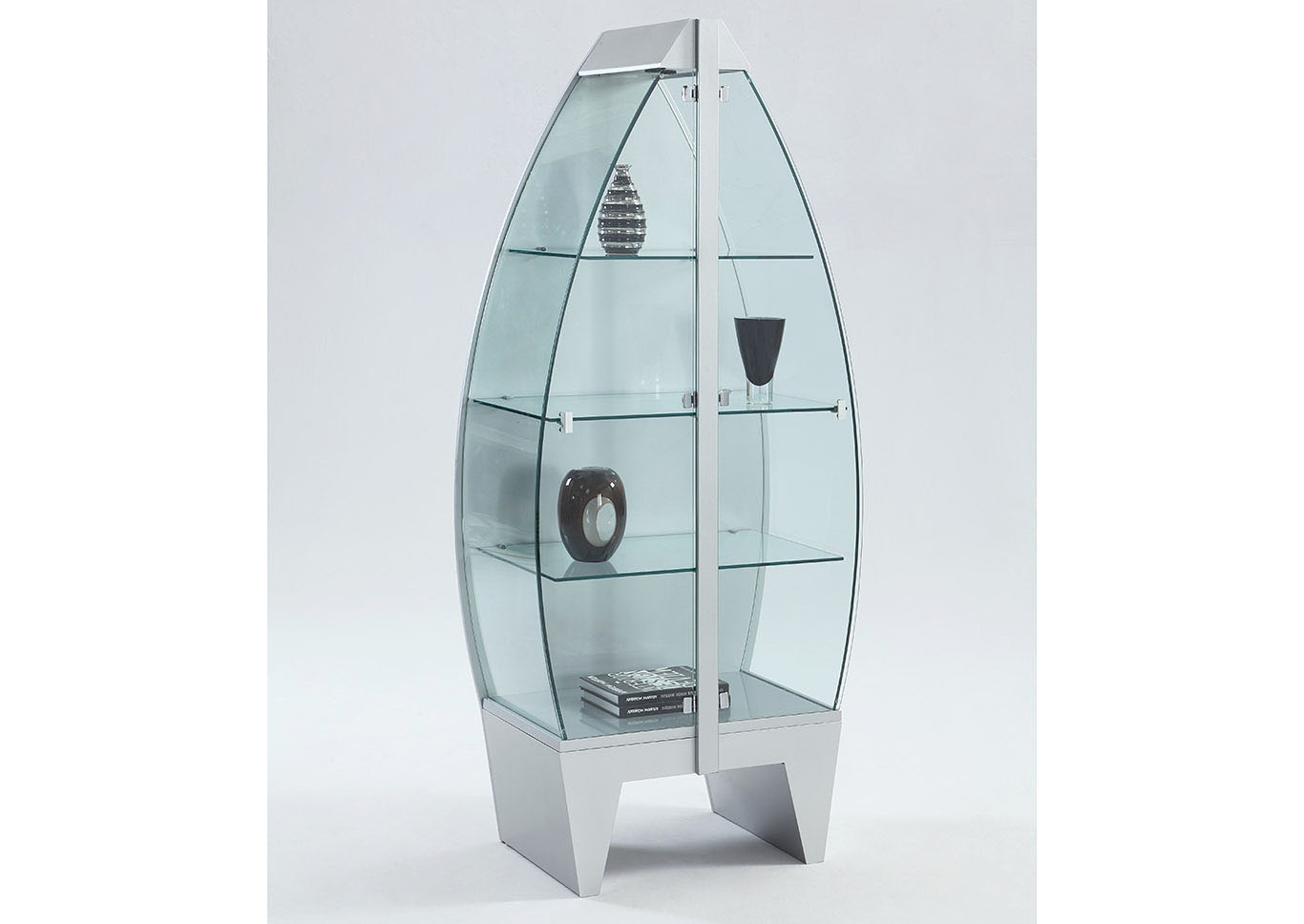 Row Boat Glass Curio,Chintaly Imports