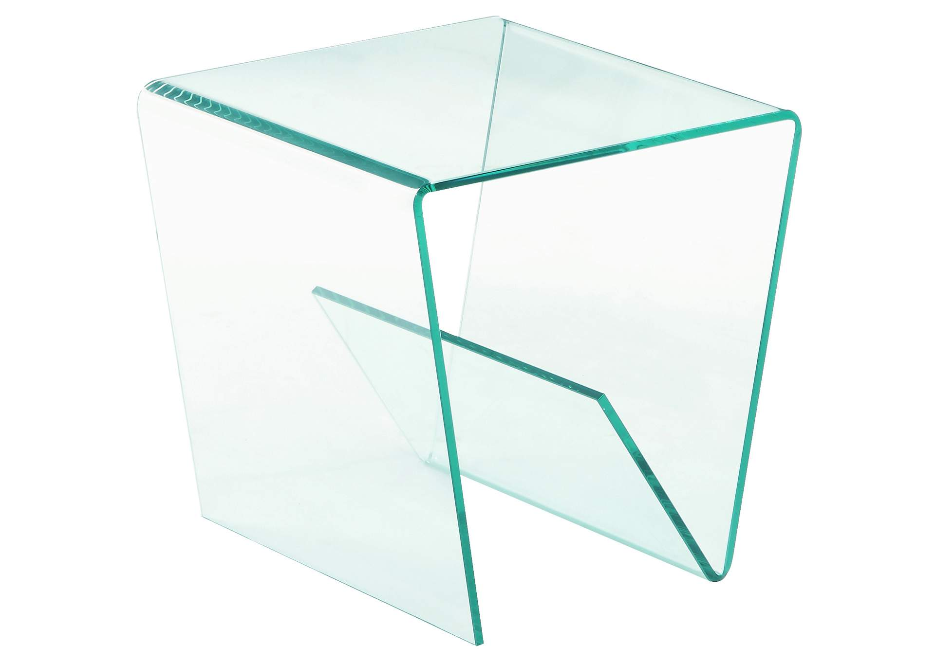 Picture of: Clear Square Bent Clear Glass Lamp Table Harlem Furniture