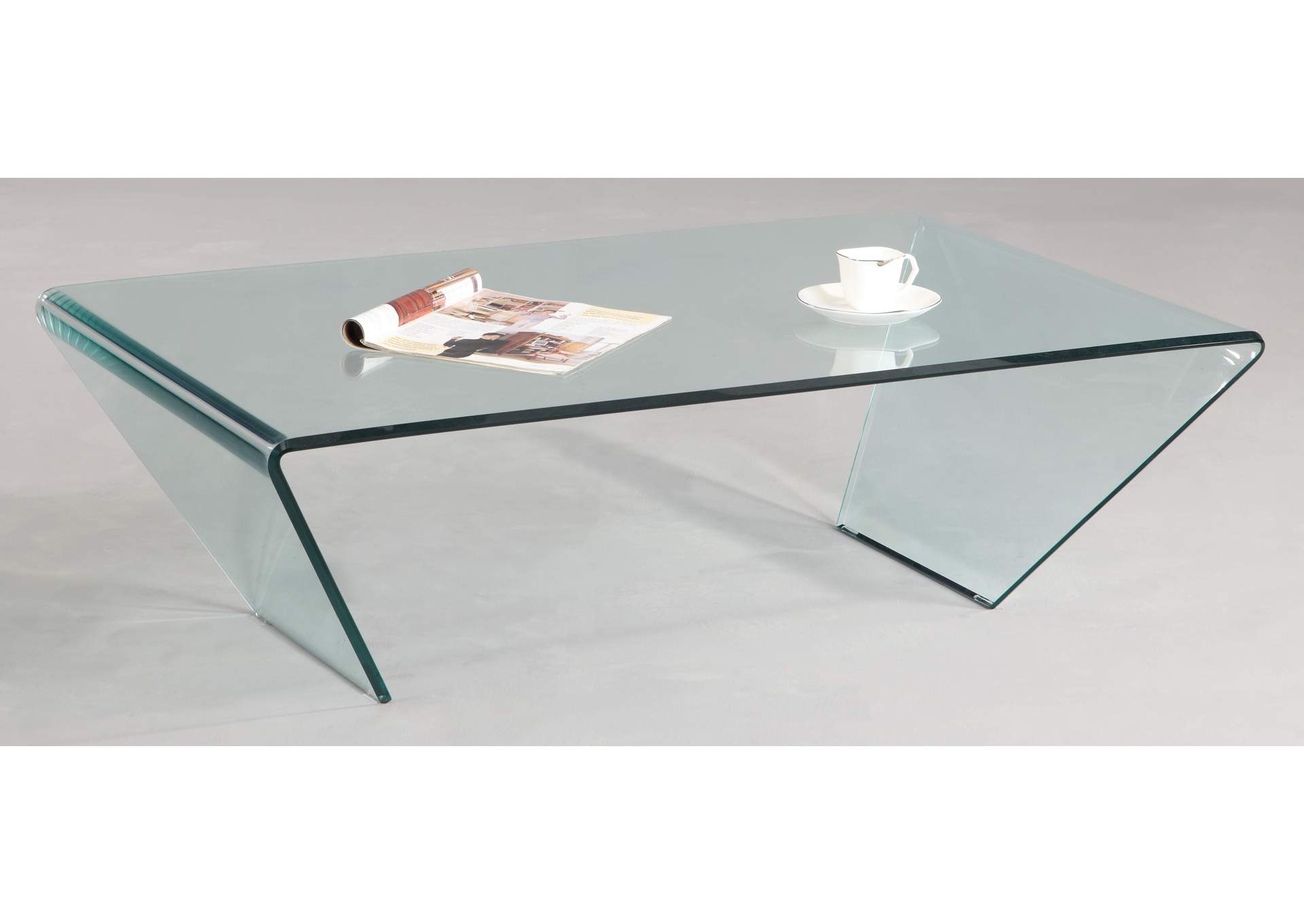 Rectangle Bent Glass Cocktail Table,Chintaly Imports