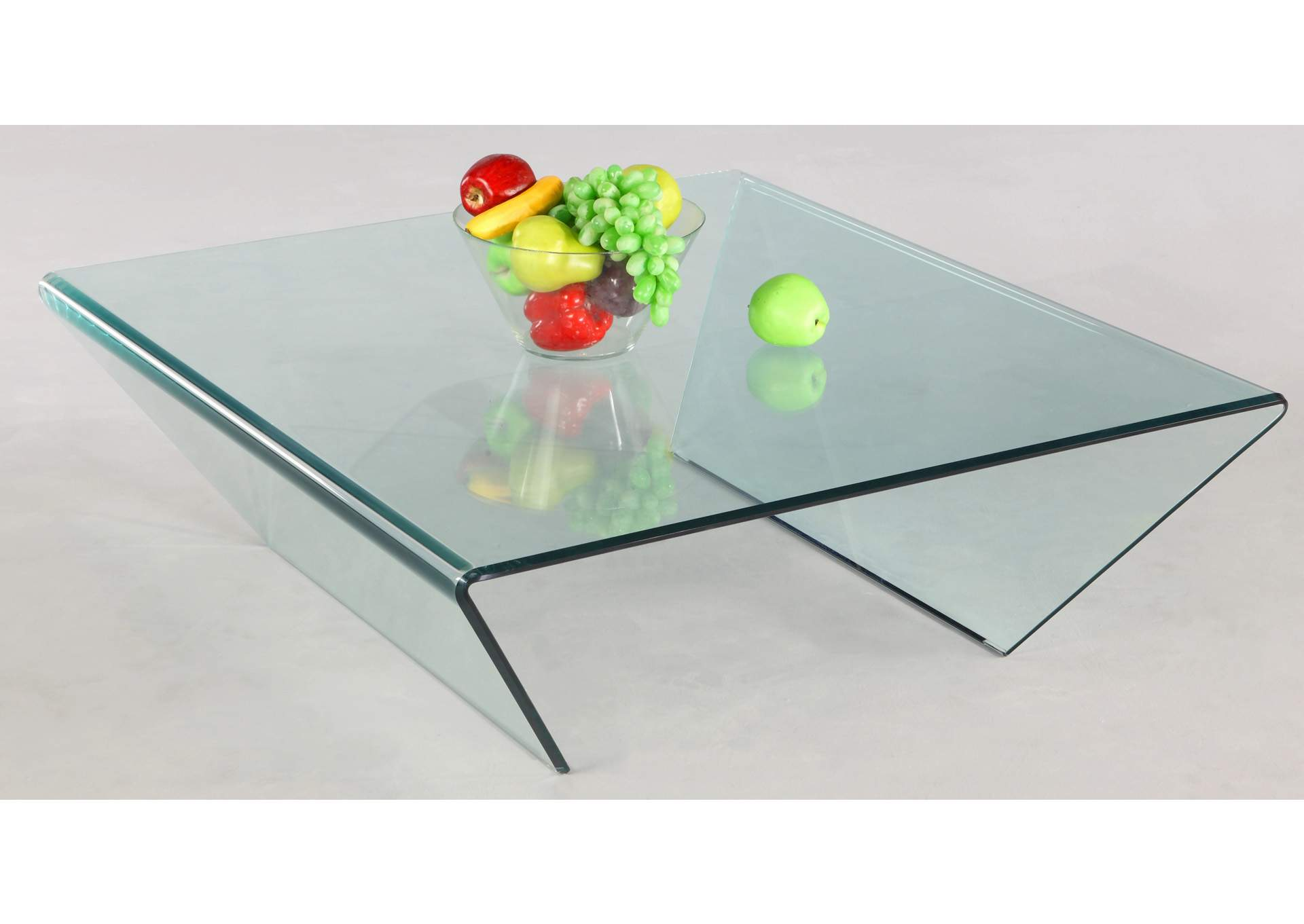 Square Bent Glass Cocktail Table,Chintaly Imports