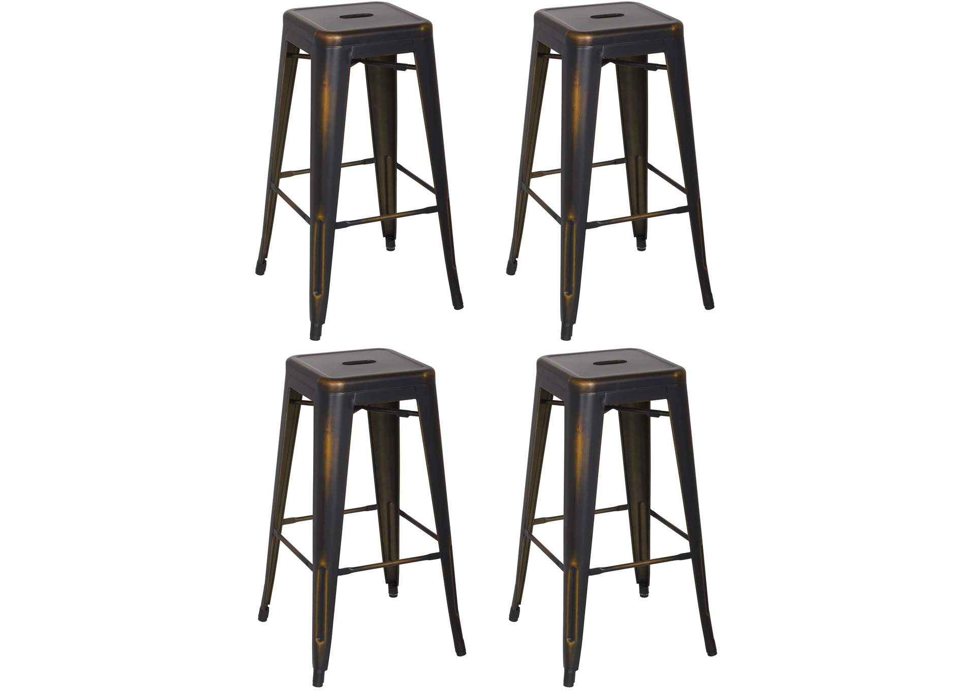 Antique Copper Vintage Galvanized Steel Bar Stool (Set of 4),Chintaly Imports