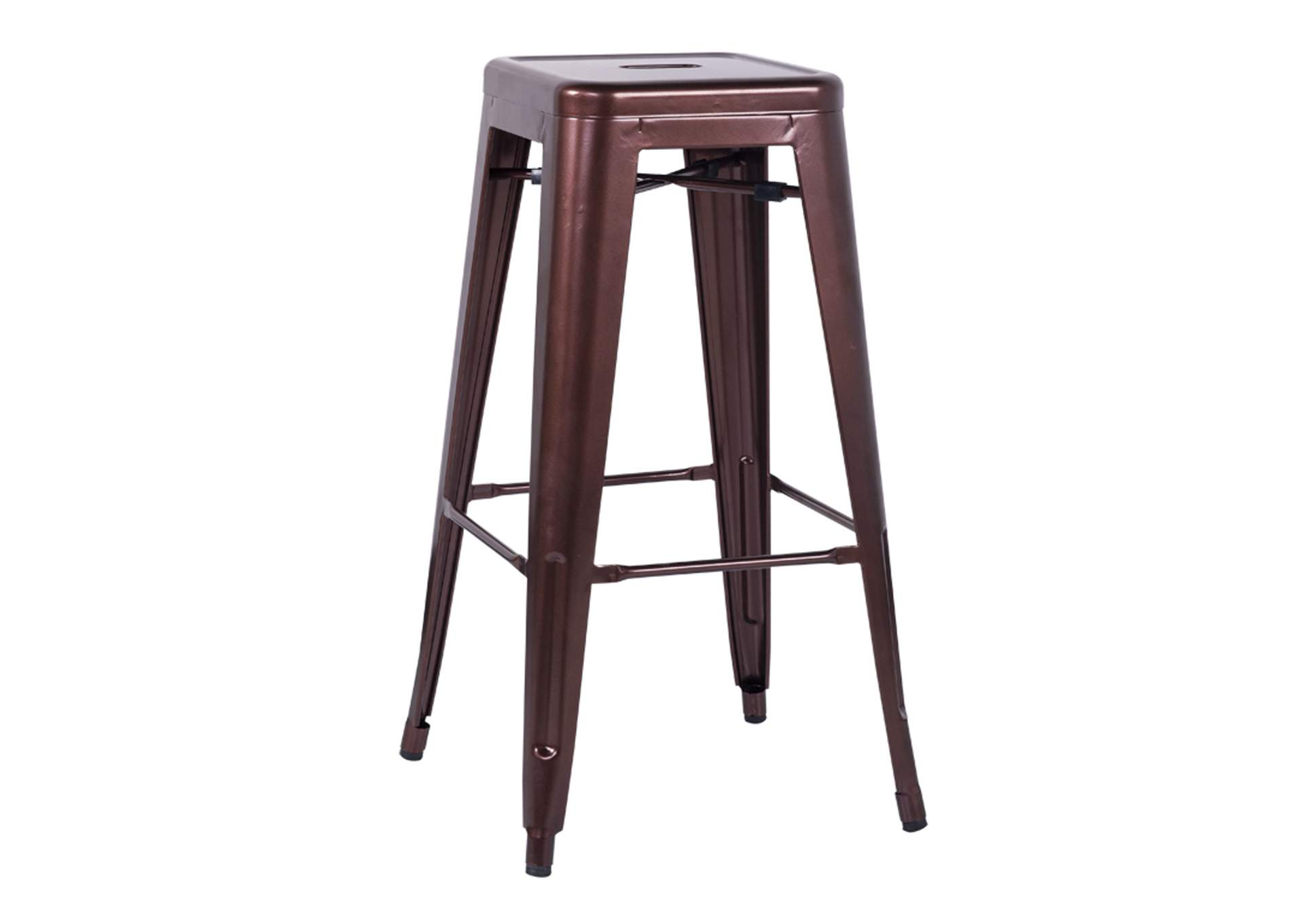 Red Copper Galvanized Steel Bar Stool (Set of 4),Chintaly Imports