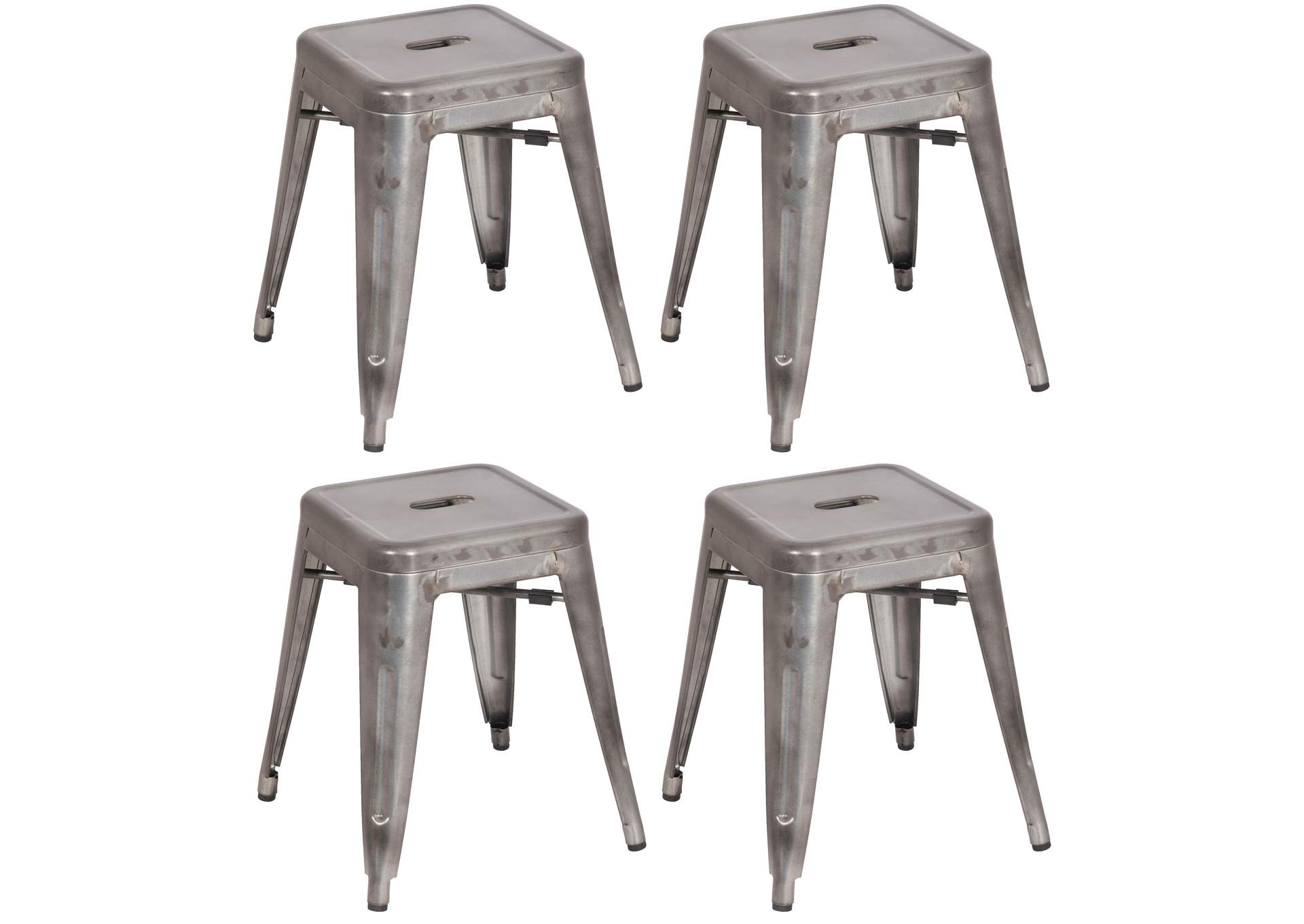Gunmetal Galvanized Steel Side Chair (Set of 4),Chintaly Imports