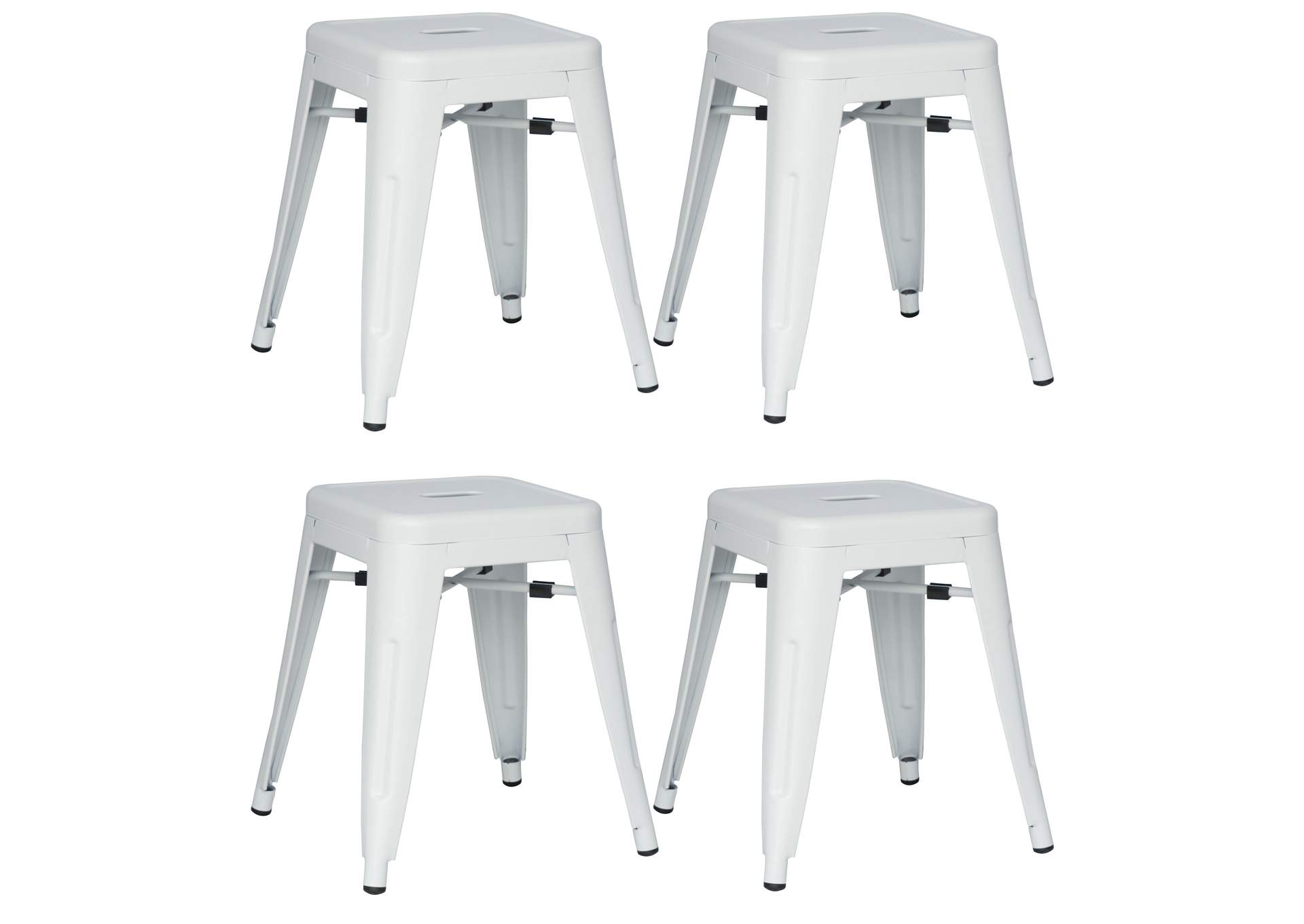 White Galvanized Steel Side Chair (Set of 4),Chintaly Imports