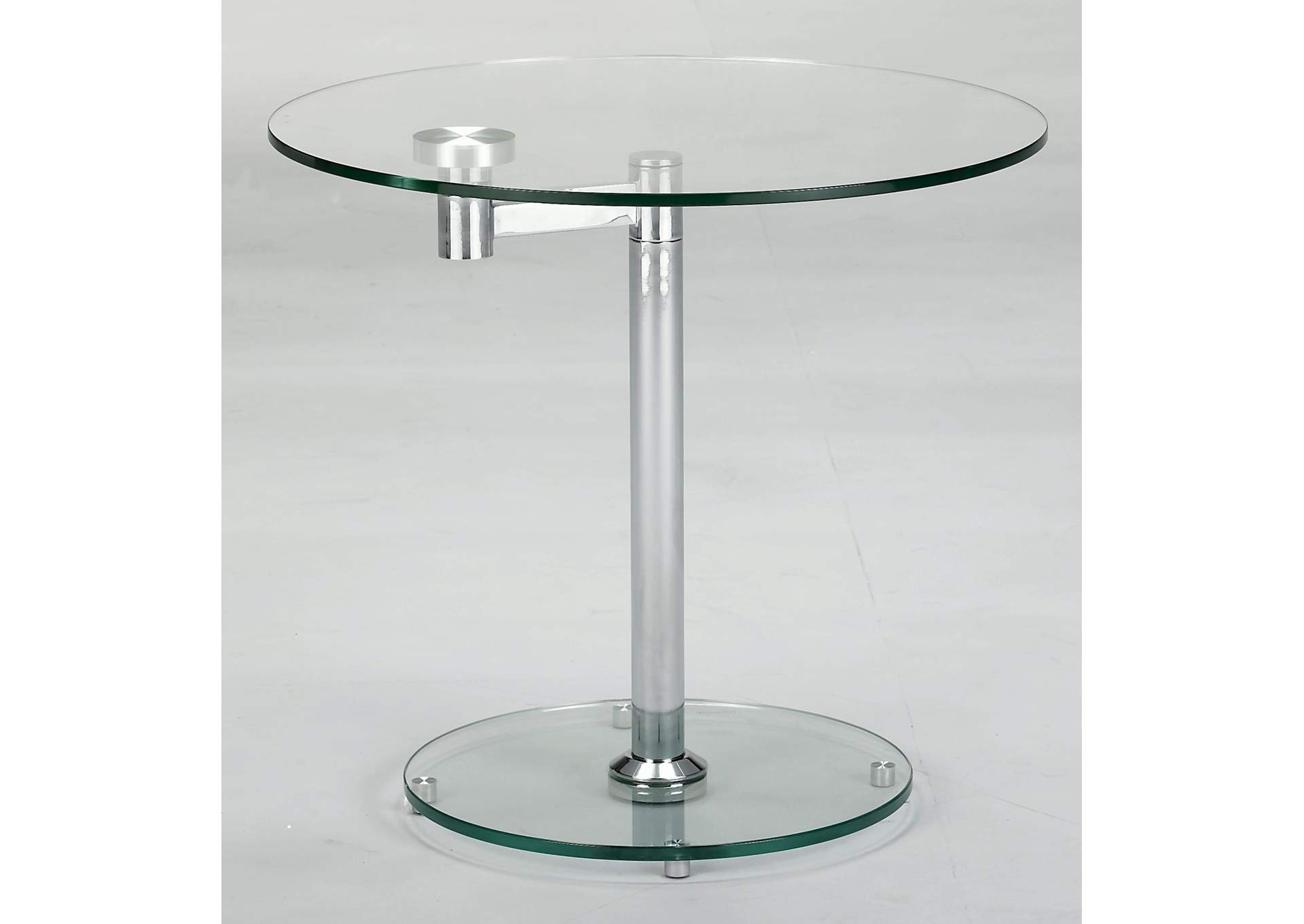 Chrome 8090 Round Glass Lamp Table,Chintaly Imports