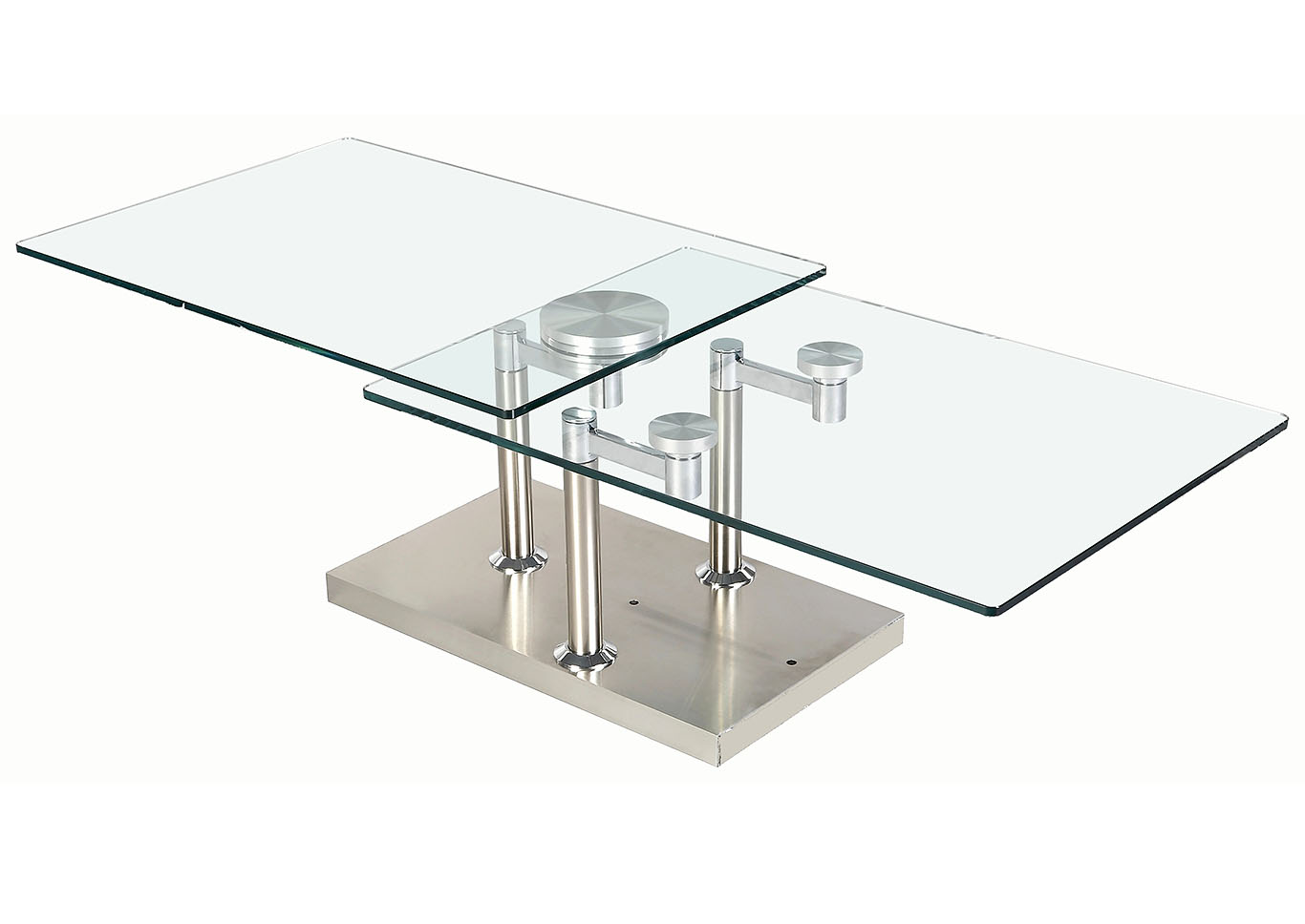Contemporary Dual Glass Top Cocktail Table,Chintaly Imports