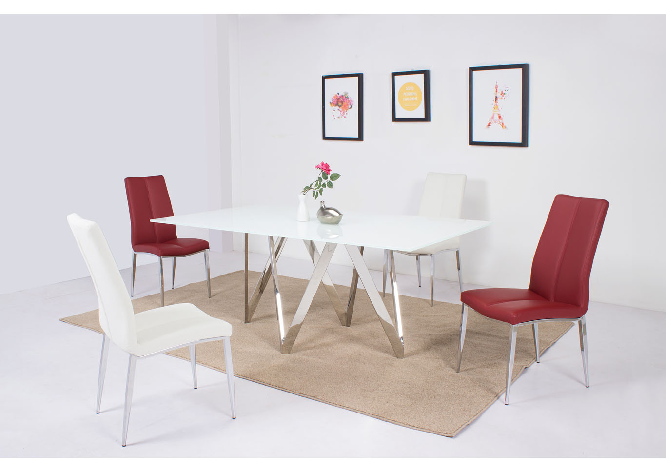 Abigail White 5 Piece Dining Room Set,Chintaly Imports
