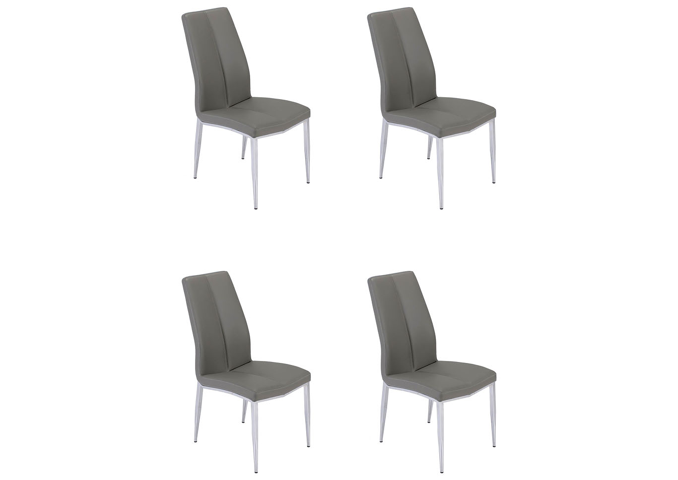 Abigail Grey Curved-Back Side Chair (Set of 4),Chintaly Imports