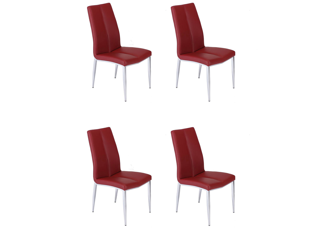 Abigail Red Curved-Back Side Chair (Set of 4),Chintaly Imports