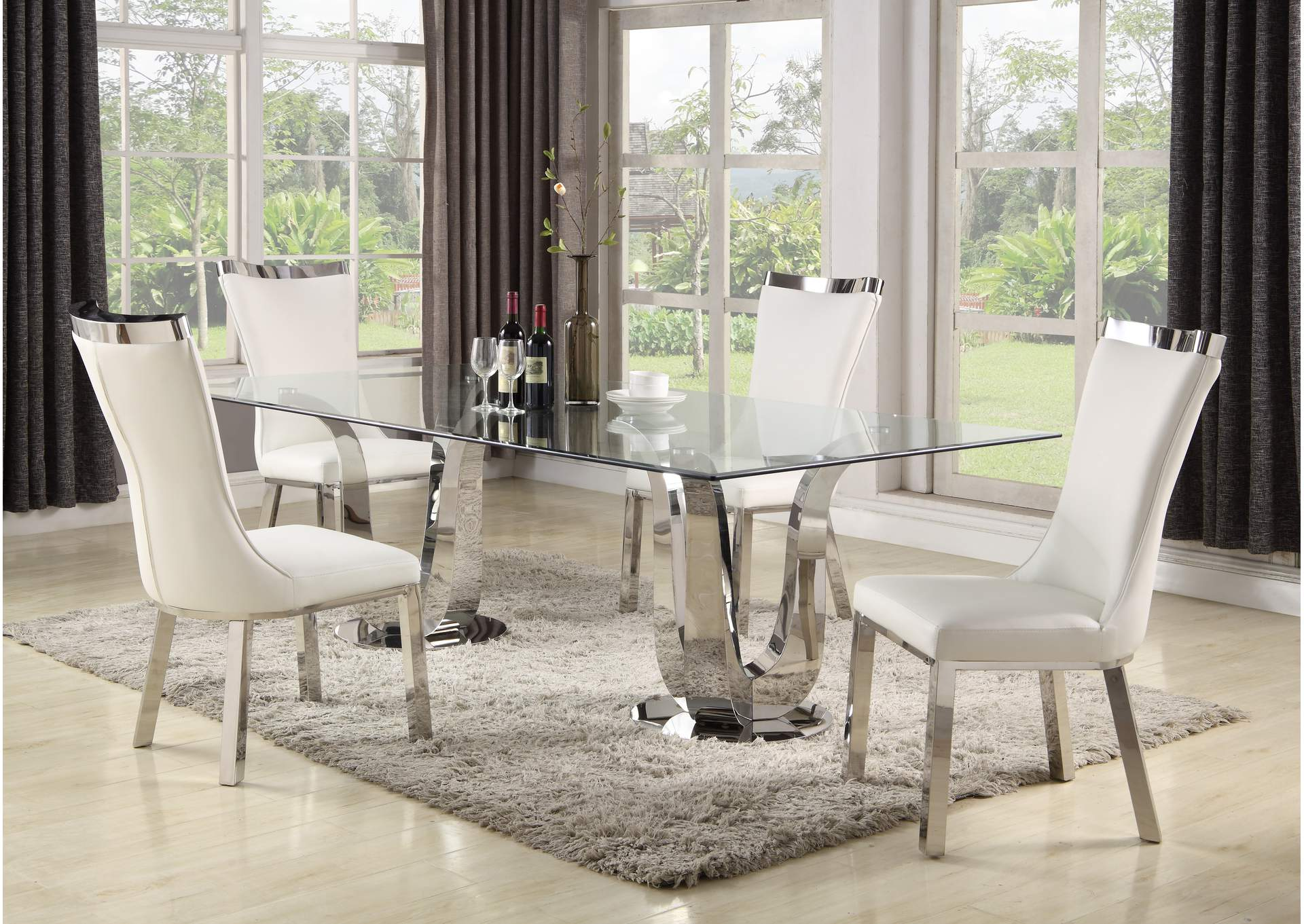 Adelle White Dining Set w/ Rectangular Glass Table & 4 White Chairs,Chintaly Imports
