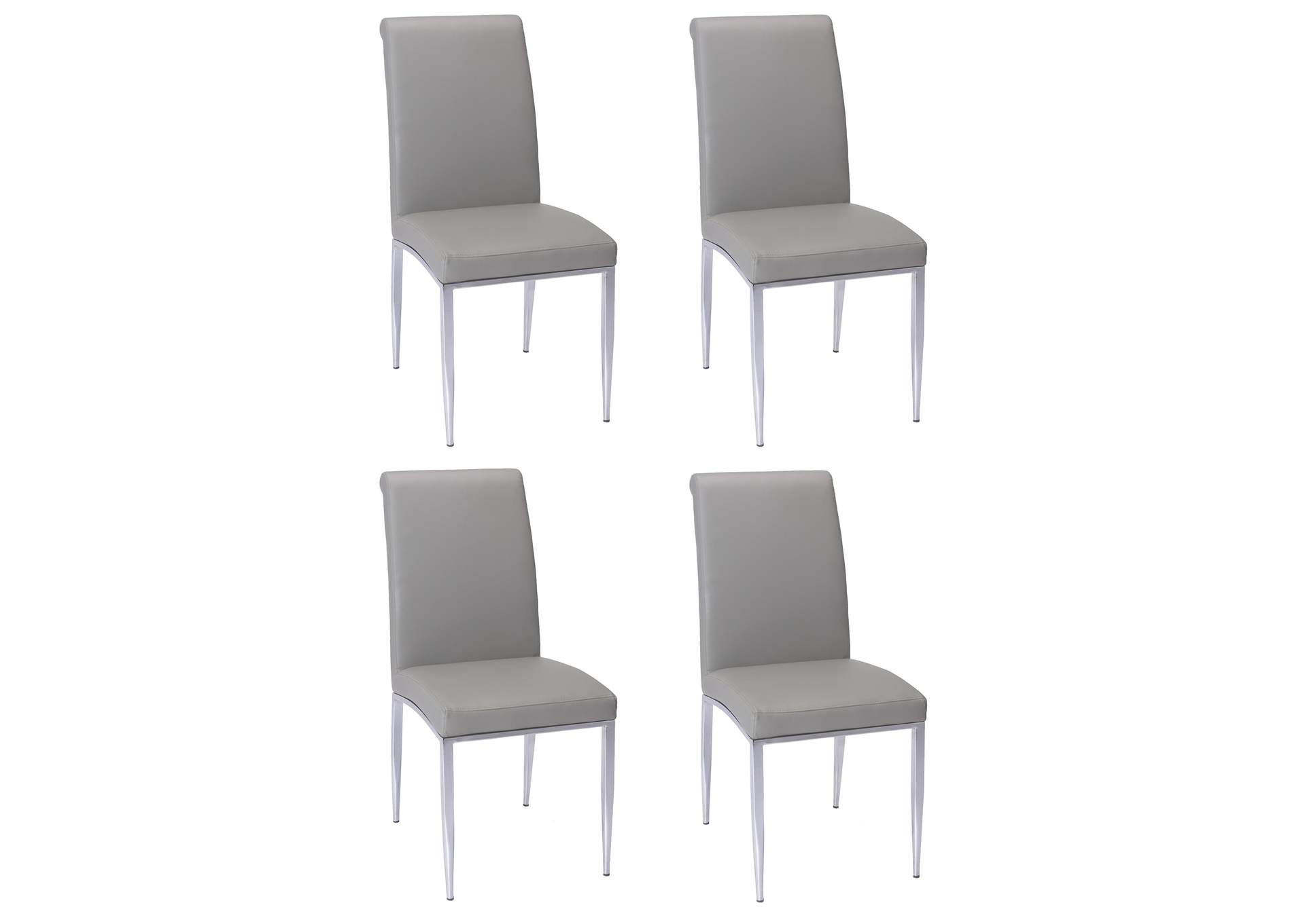 Alexis Grey Rolled-Back Side Chair (Set of 4),Chintaly Imports