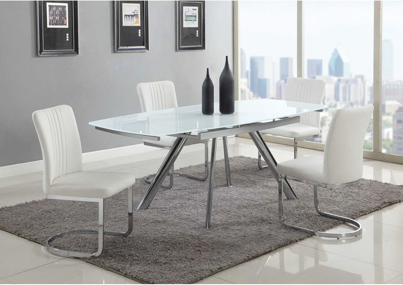 Alina White 5 Piece Dining Room Set,Chintaly Imports