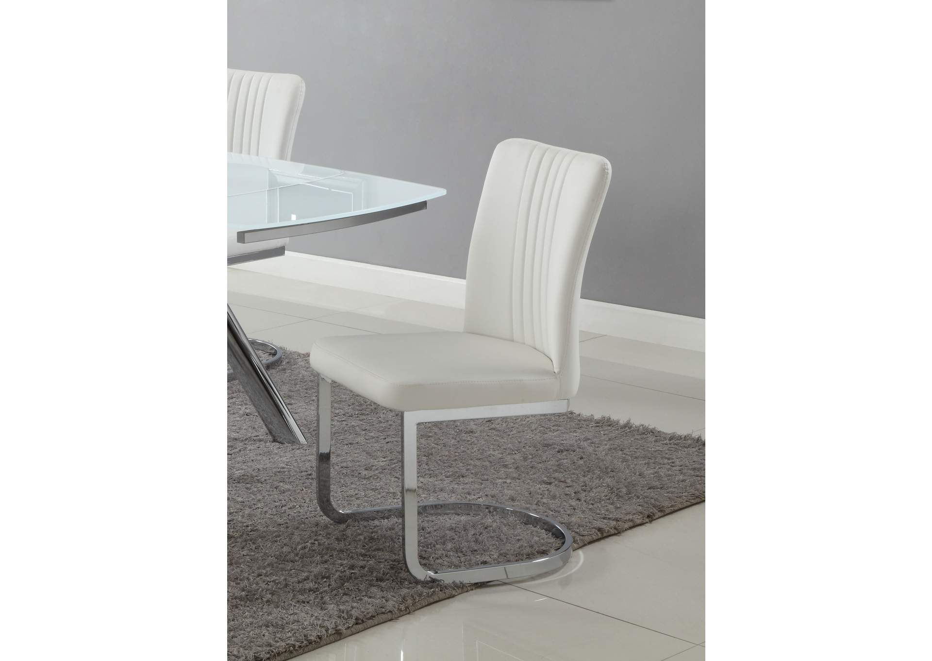 Alina White Channel Back Cantilever Side Chair (Set of 4),Chintaly Imports