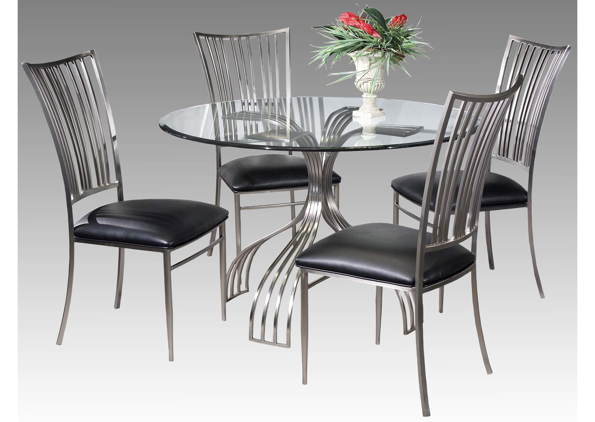 Ashtyn Black & Chrome 5 Piece Dining Room Set,Chintaly Imports