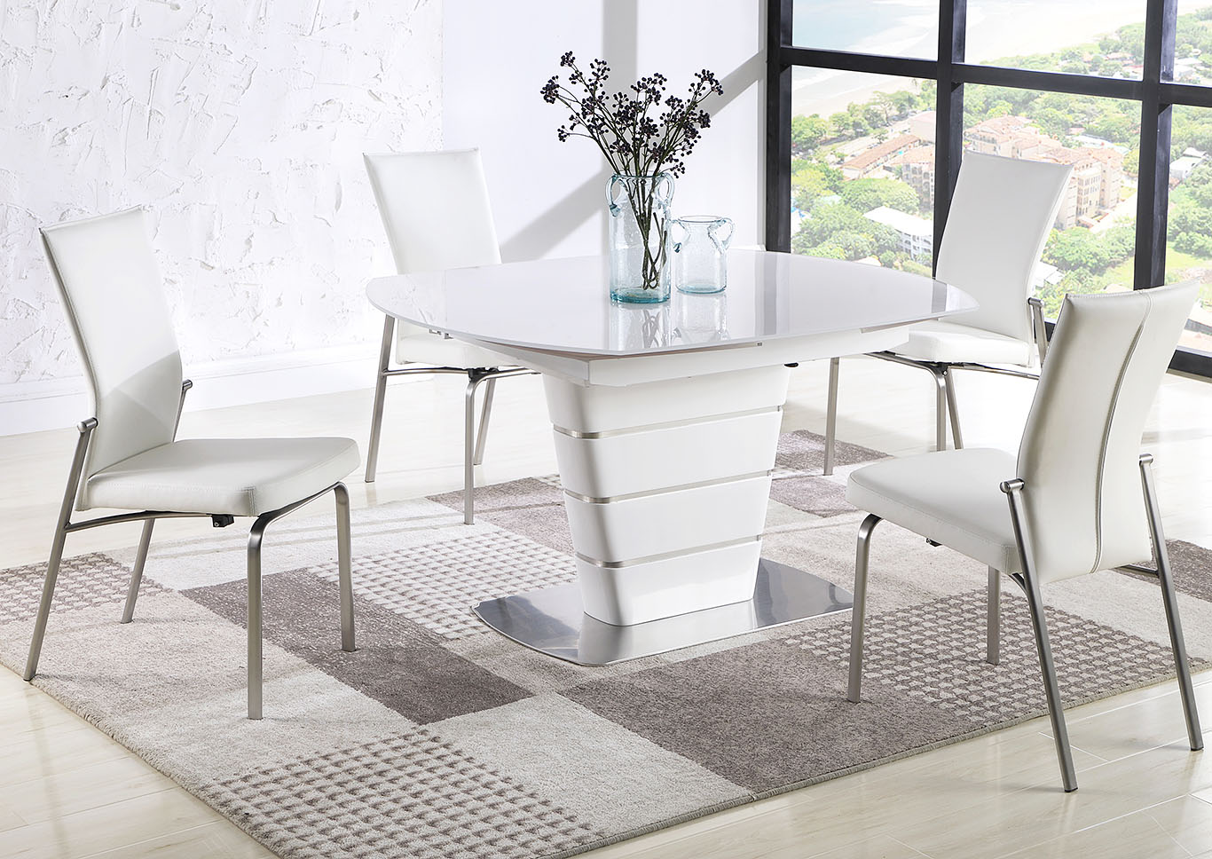 Charlotte-Molly White Dining Table w/4 Side Chairs,Chintaly Imports