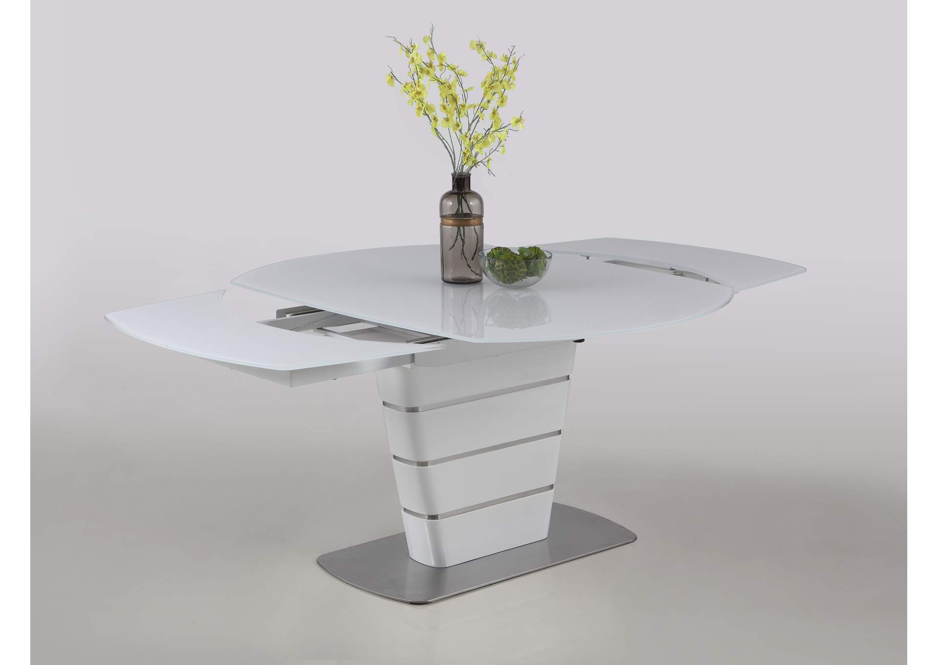 Charlotte White Motion-Extendable Dining Table,Chintaly Imports