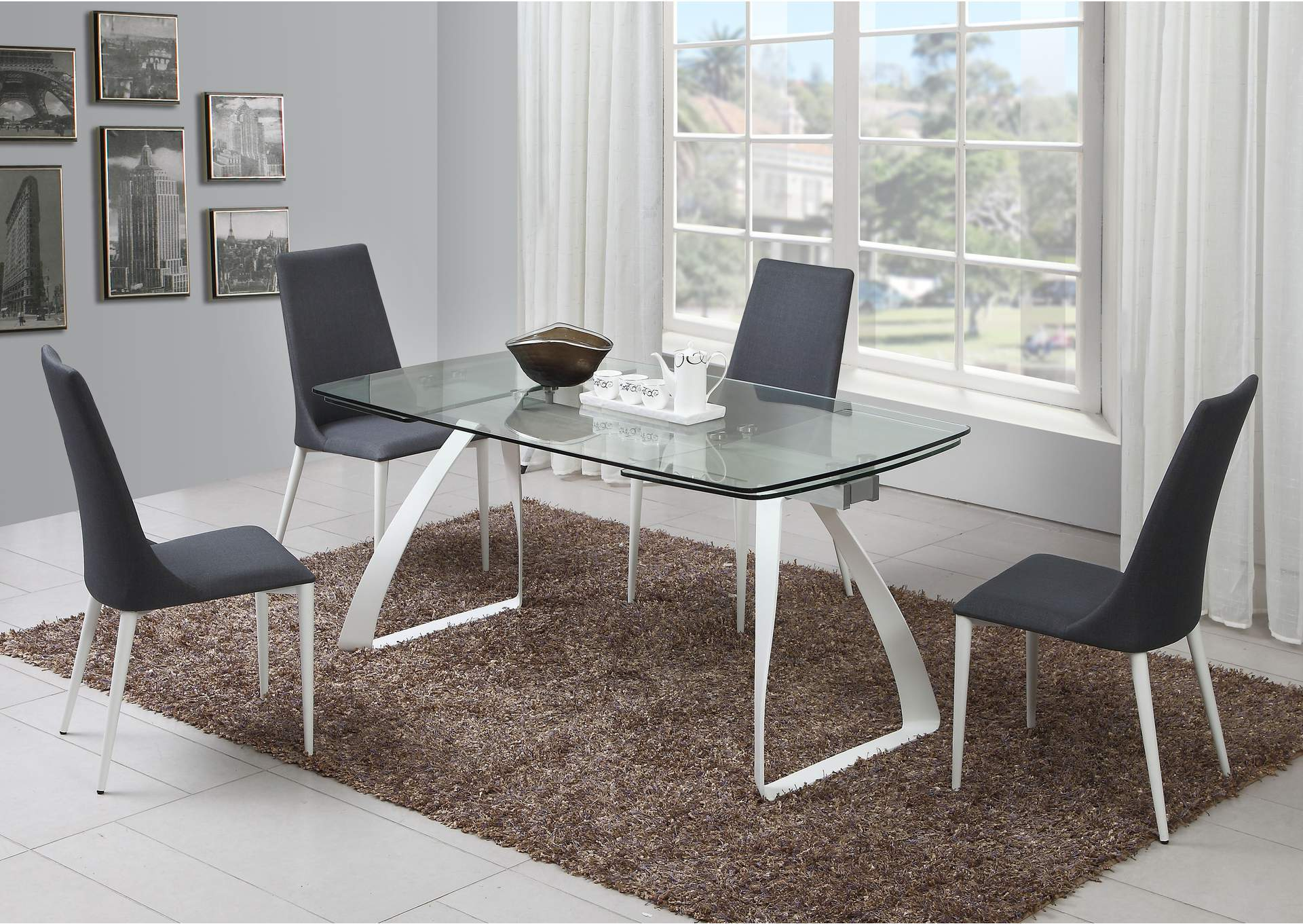 Chloe Grey 5 Piece Glass Top Dining Set,Chintaly Imports