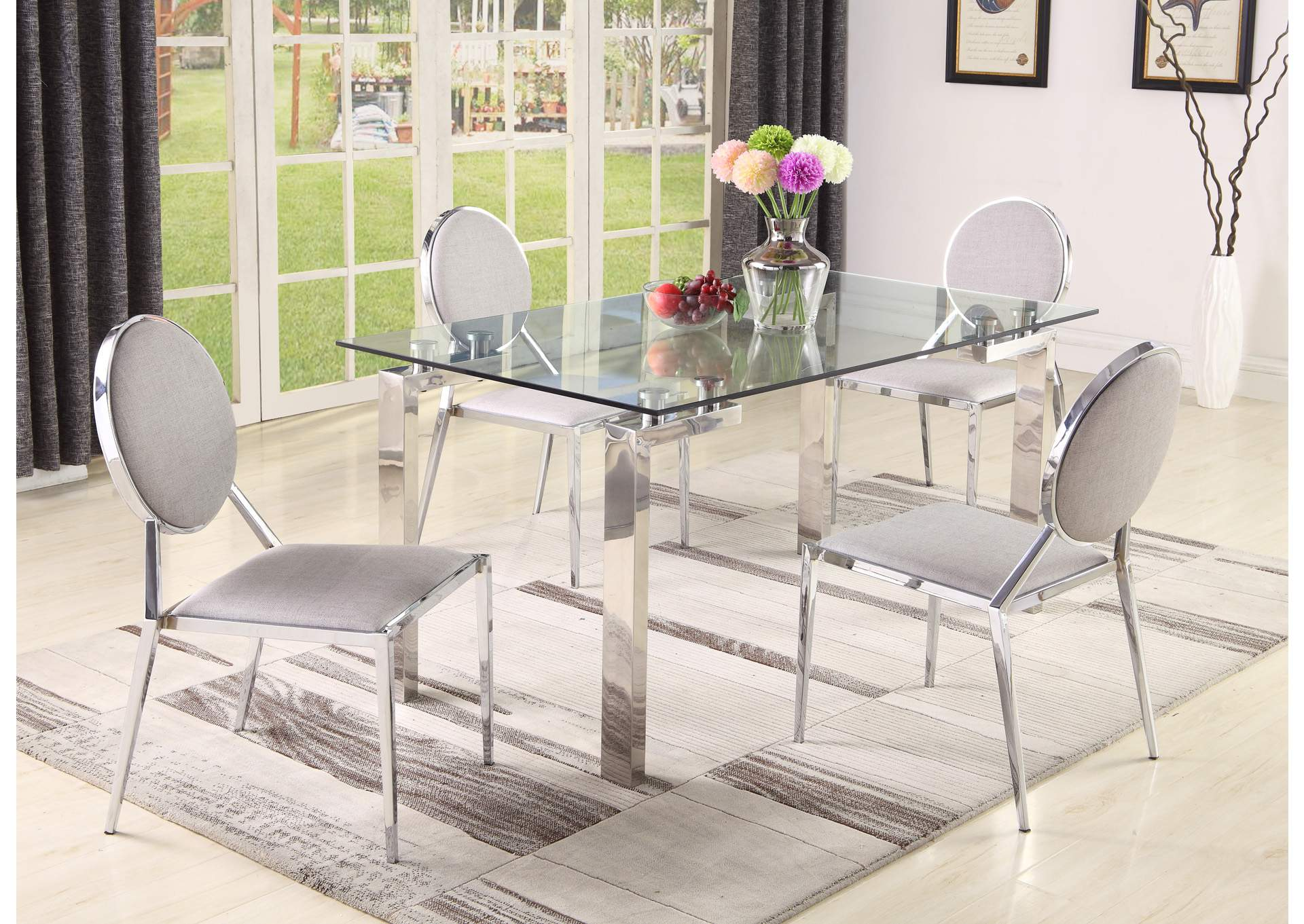 Cristina 5 Piece Dining Set W/ 4 Lisa Side Chairs,Chintaly Imports