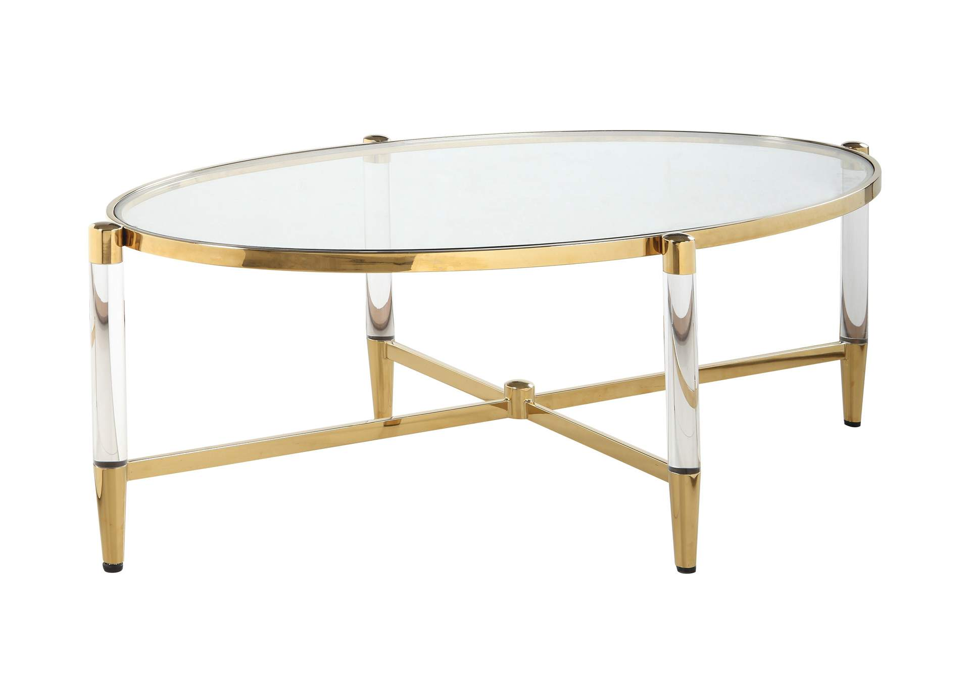 Denali Brass Oval Tempered Glass Cocktail Table,Chintaly Imports