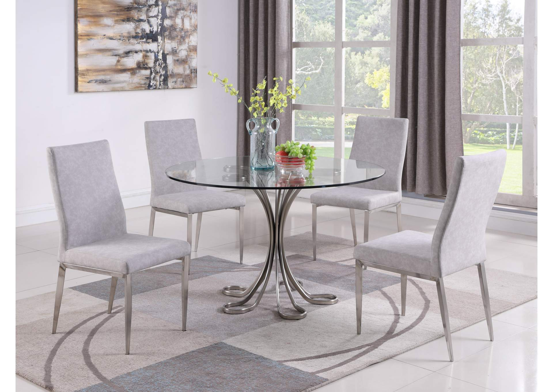 Desiree Grey Dining Set w/ Glass Table & Upholstered Chairs,Chintaly Imports