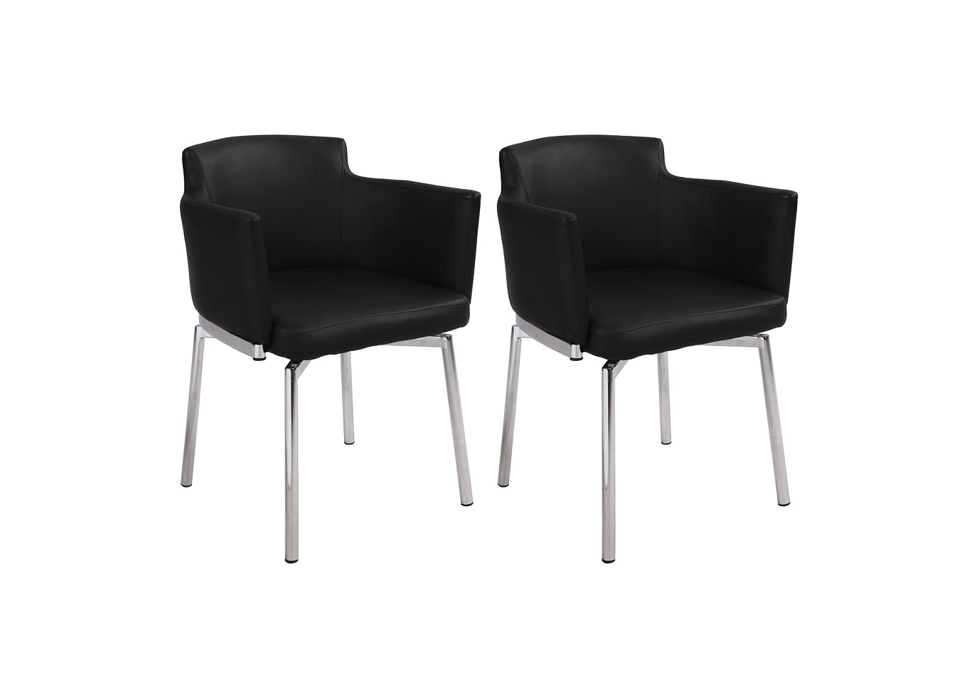 Dusty Black Club Style Arm Dining Chair (Set of 2) with Memory Swivel,Chintaly Imports