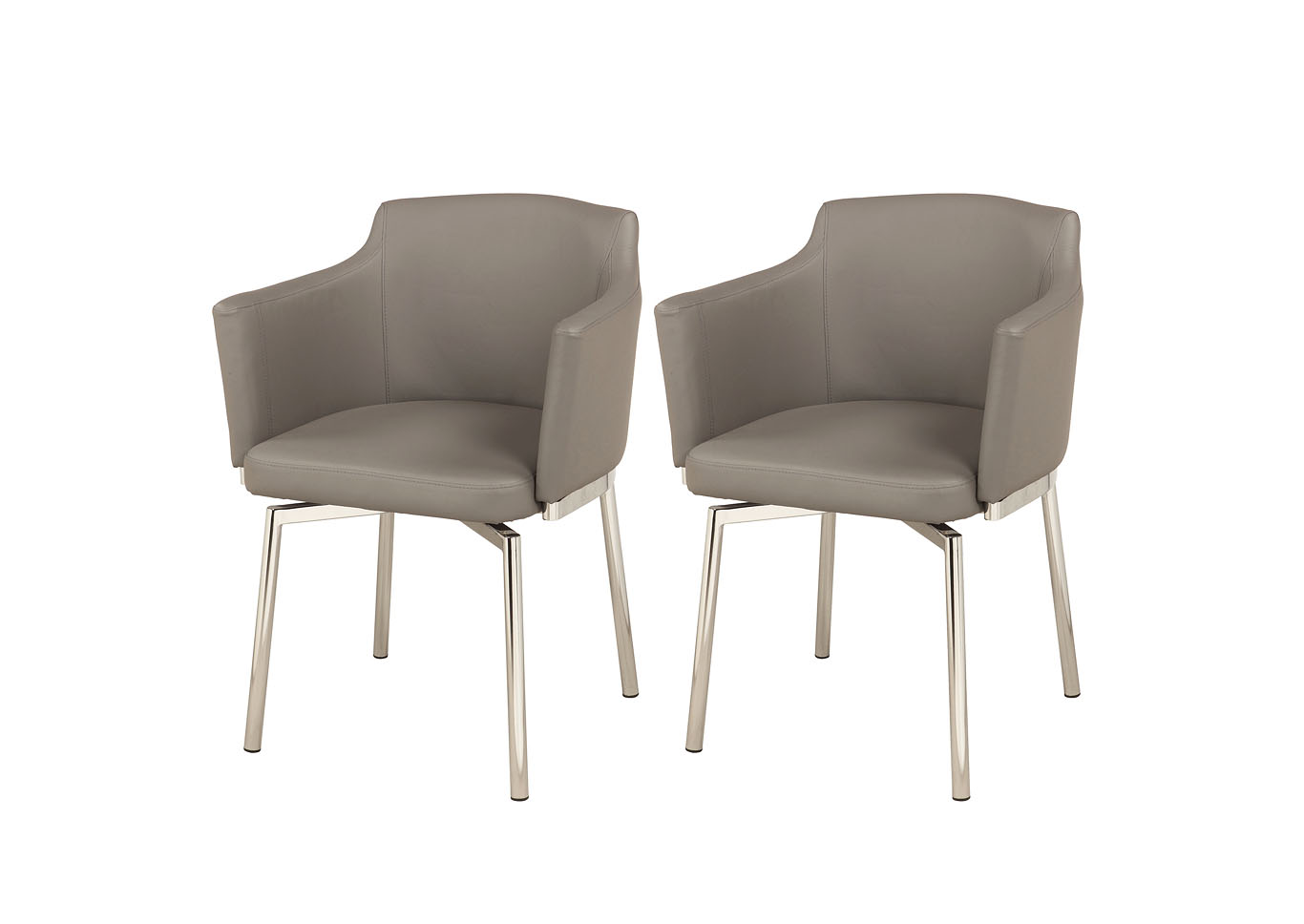 Dusty Grey Club Style Arm Dining Chair (Set of 2) with Memory Swivel,Chintaly Imports