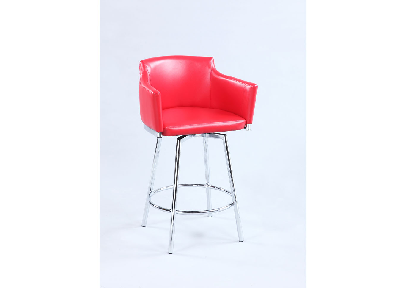 Dusty Red Club Counter Stool w/ Memory Swivel,Chintaly Imports