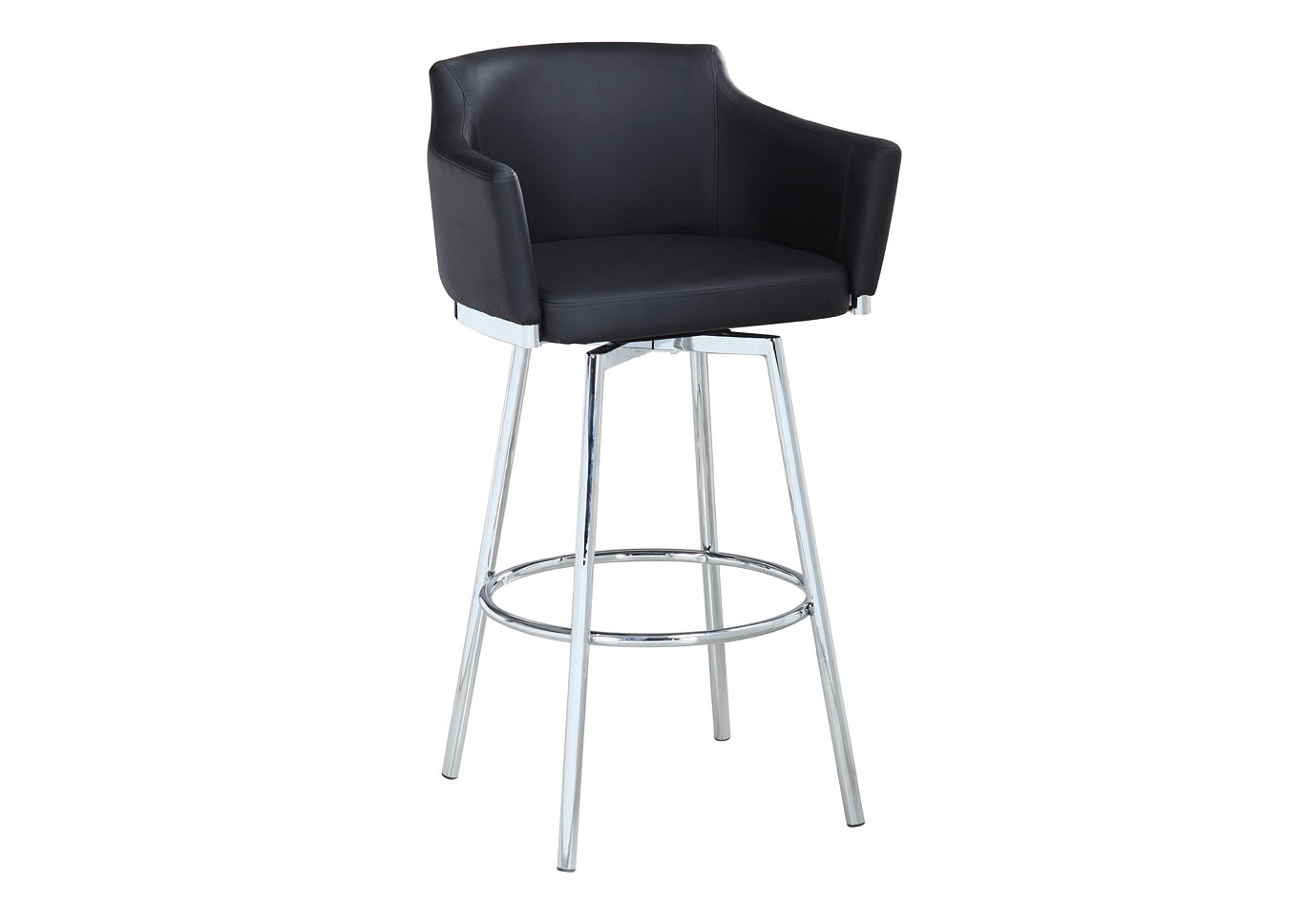 Dusty Black Club Bar Stool w/ Memory Swivel,Chintaly Imports
