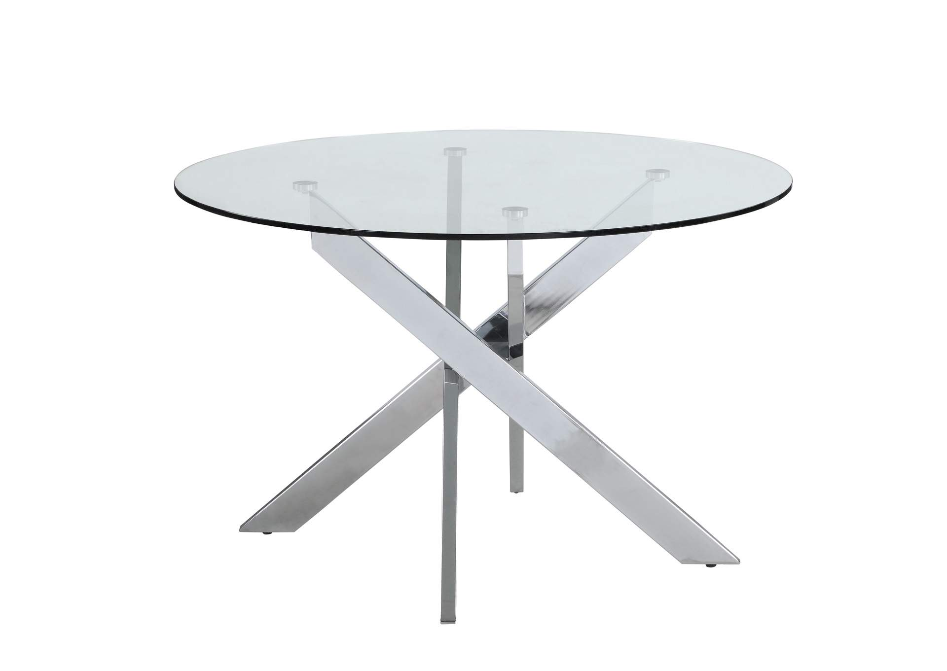 Dusty Chrome Round Glass Top Dining Table,Chintaly Imports