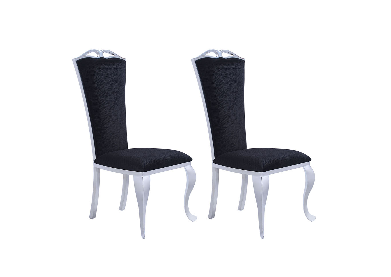 Raegan Black Tall-Back Side Chair (Set of 2),Chintaly Imports