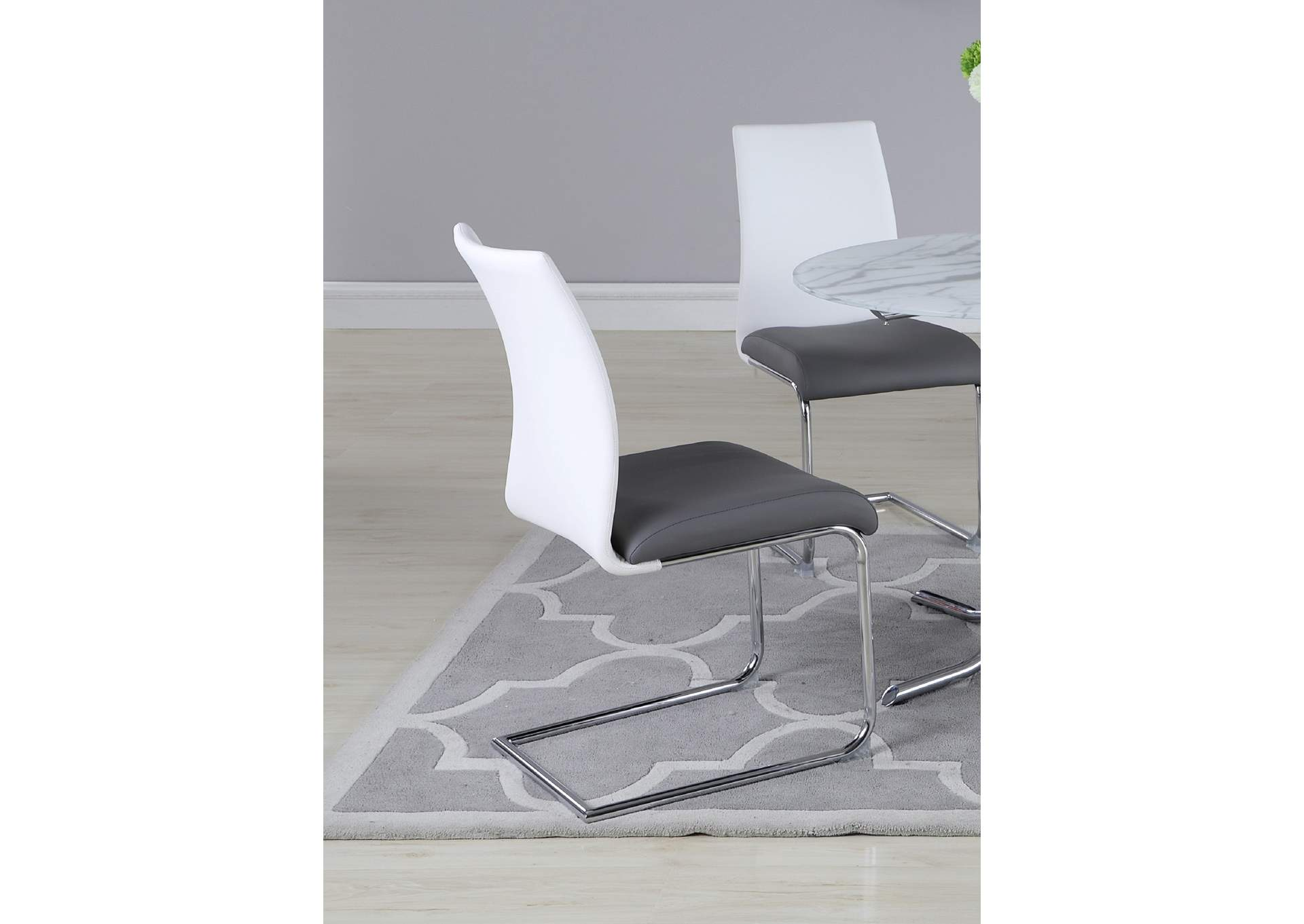 Pixie White & Grey 2 Tone Contour Back Cantilever Side Chair (Set of 4),Chintaly Imports