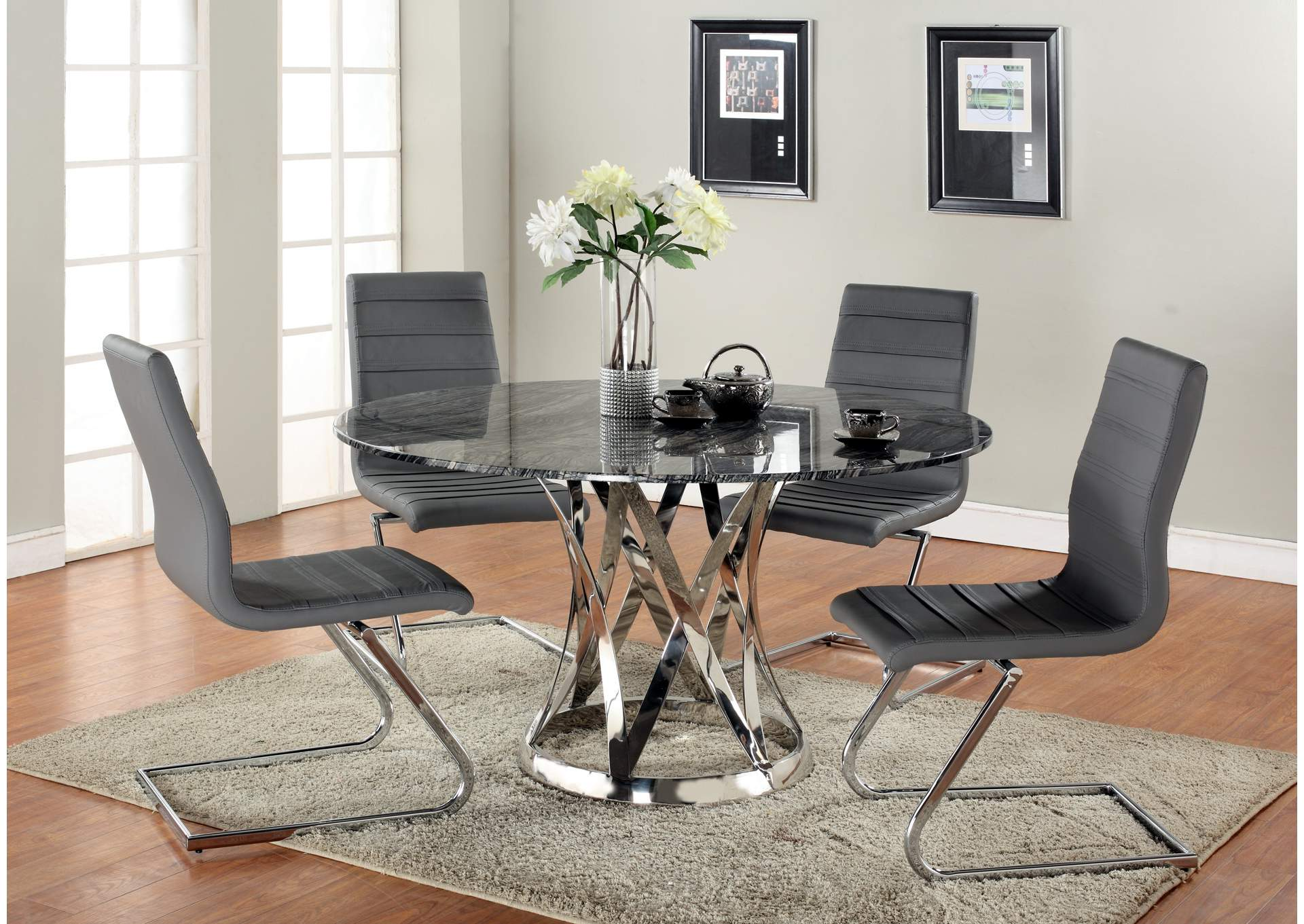 Janet Grey & Marble Round Marble Top 5 Piece Dining Set,Chintaly Imports