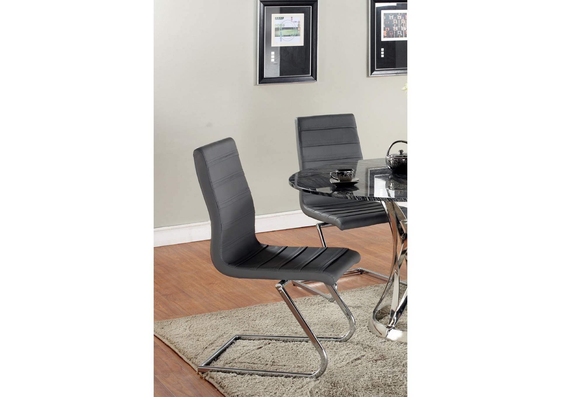 Janet Grey High Back Brewer Style Side Chair (Set of 2),Chintaly Imports