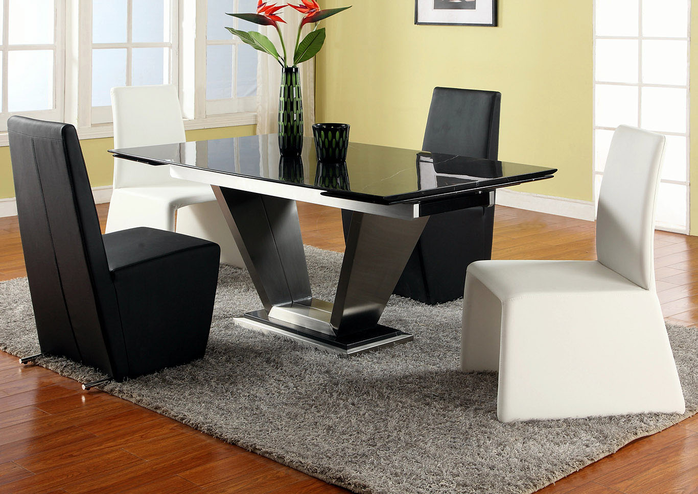 Jessy-Cynthia Grey Dining Table w/4 Side Chairs,Chintaly Imports