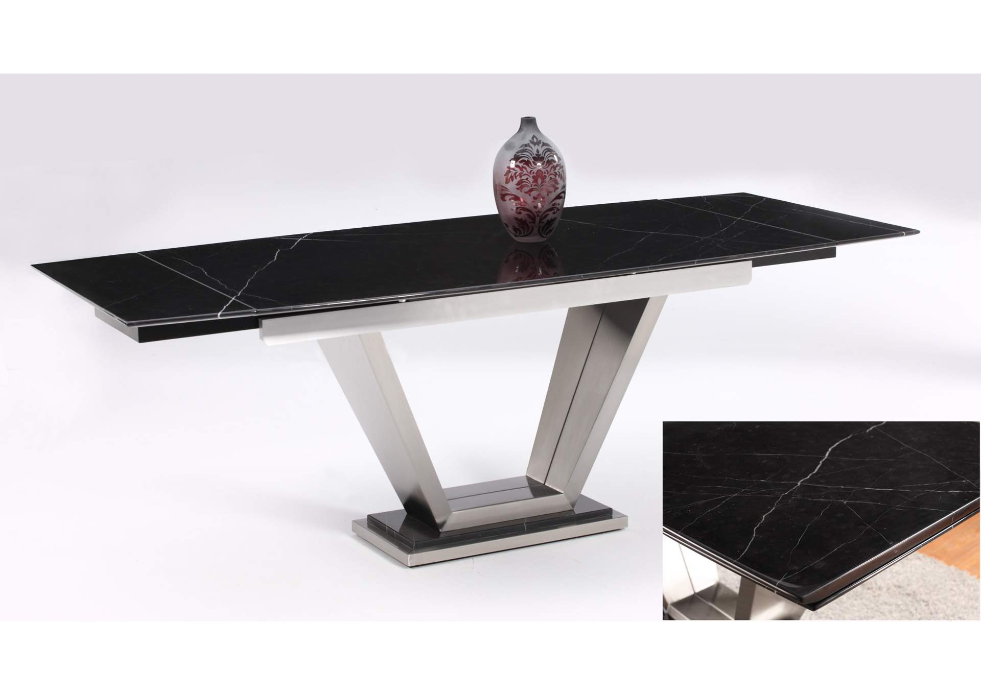 Jessy Black Marquis Rectangular Marble Top Dining Table,Chintaly Imports