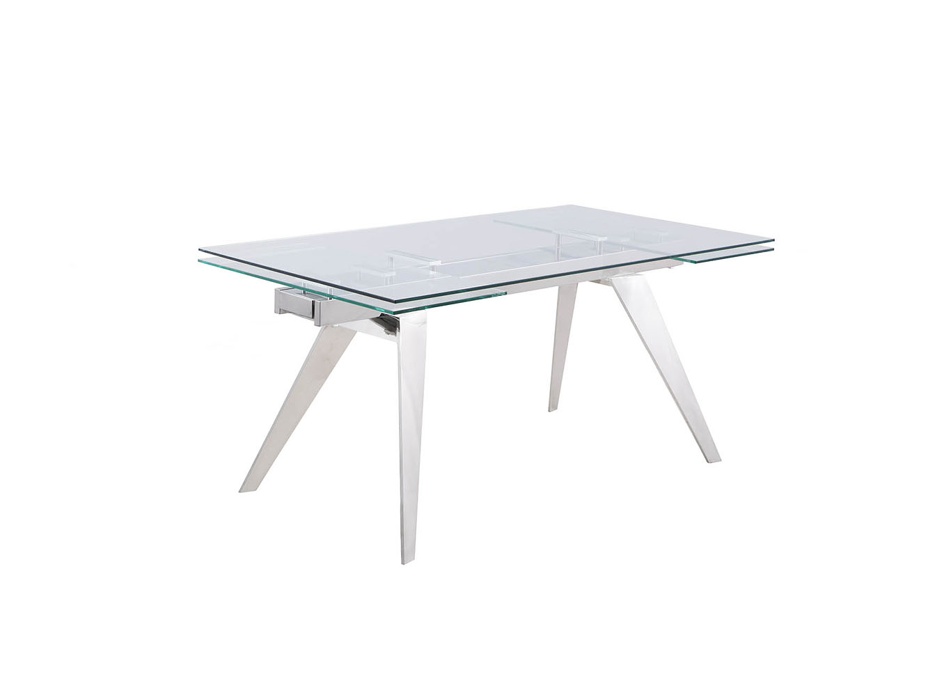 Josie White Extendable Glass Top Dining Table,Chintaly Imports
