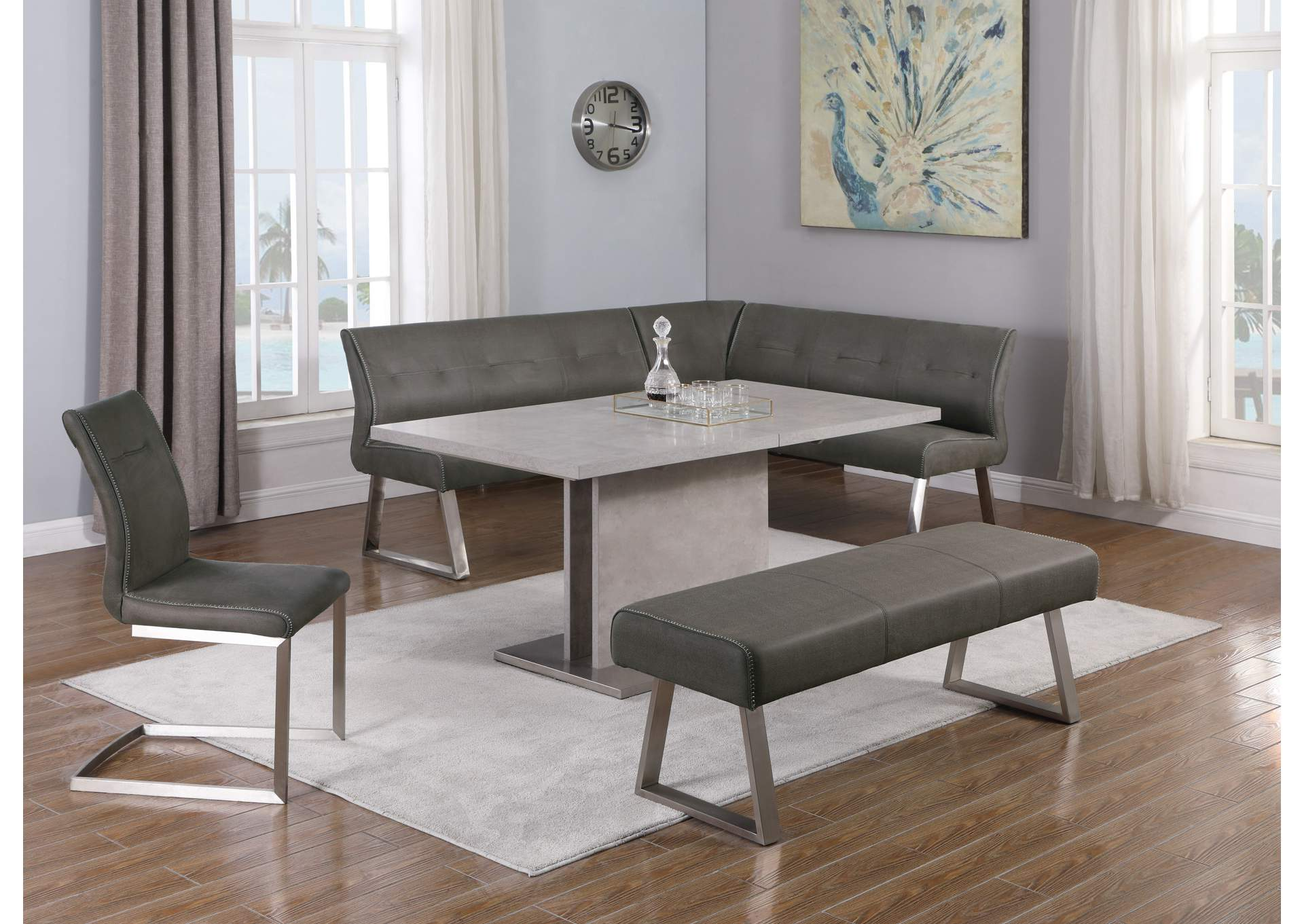 Kalinda Grey Dining Set W Extendable Table 4 Upholstered Chairs Sweet Dreams Bedding Furniture